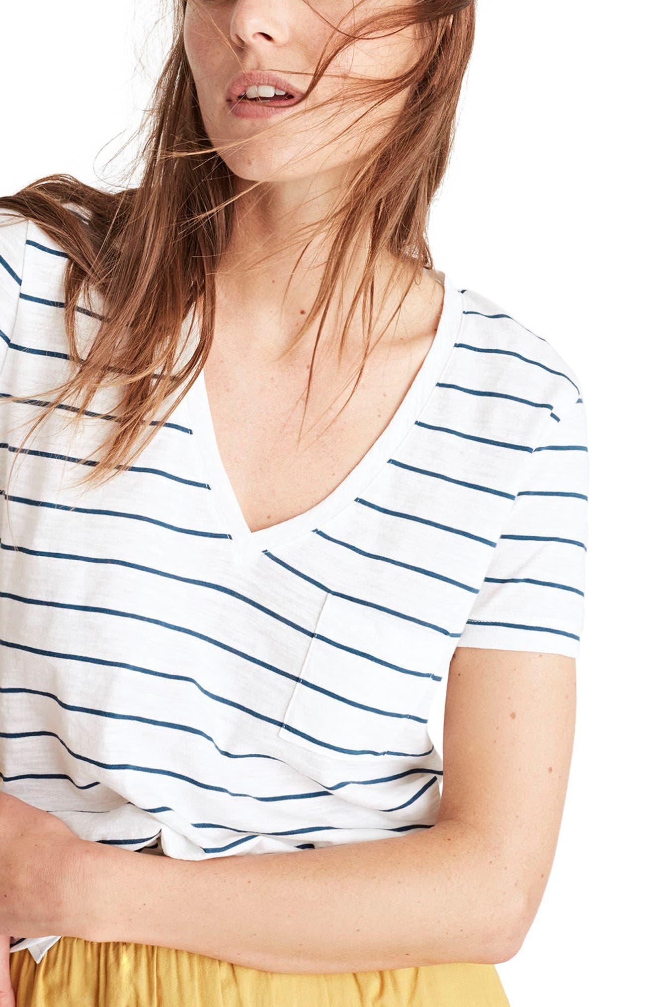 Whisper Cotton Stripe V-Neck Pocket Tee,                         Main,                         color, 100