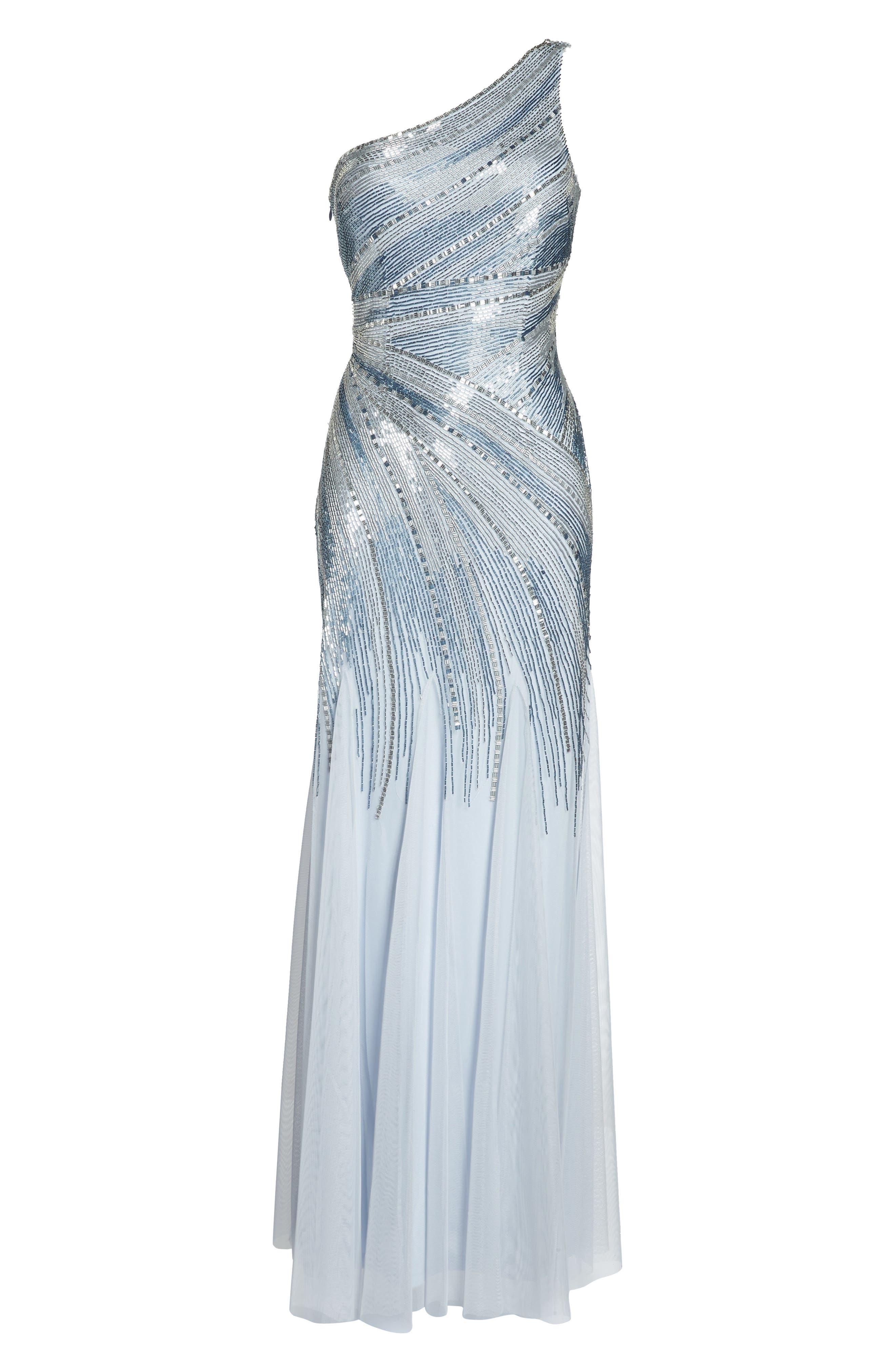 Beaded One-Shoulder Mermaid Gown,                             Alternate thumbnail 6, color,                             450