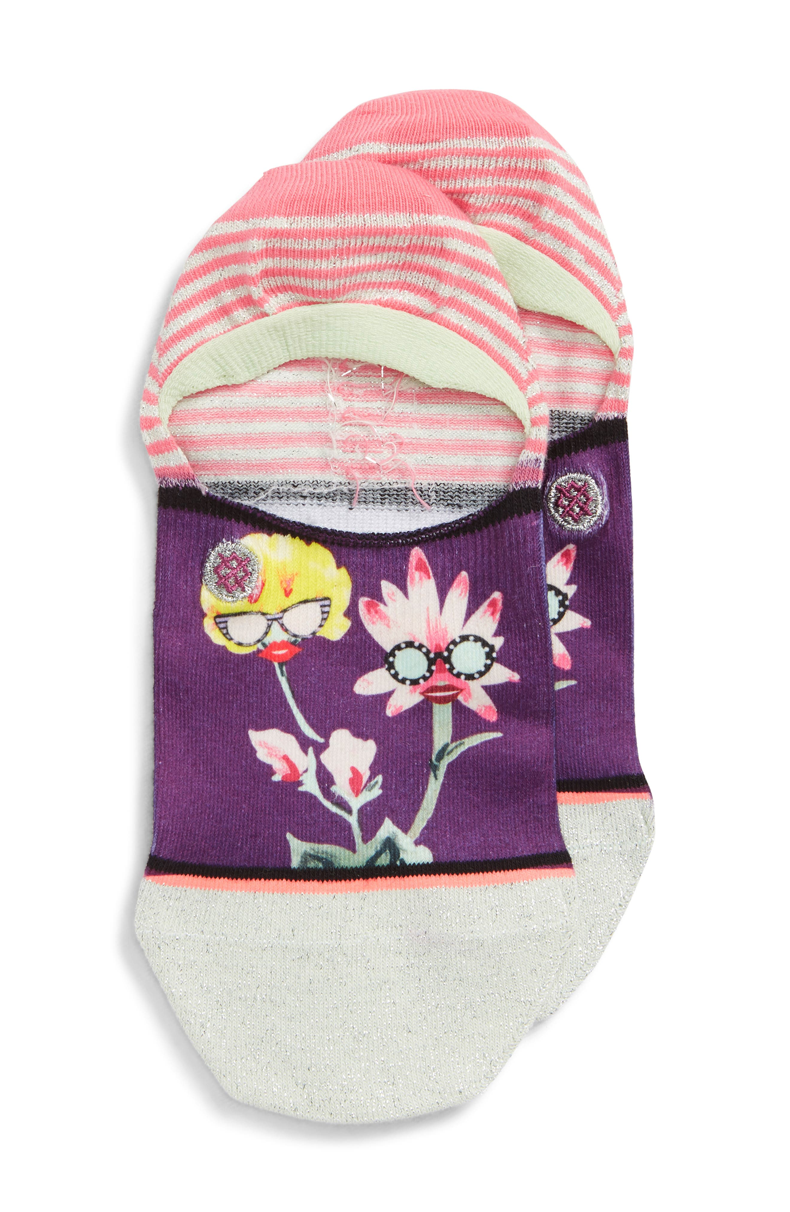 Besties No-Show Liner Socks,                         Main,                         color, PURPLE
