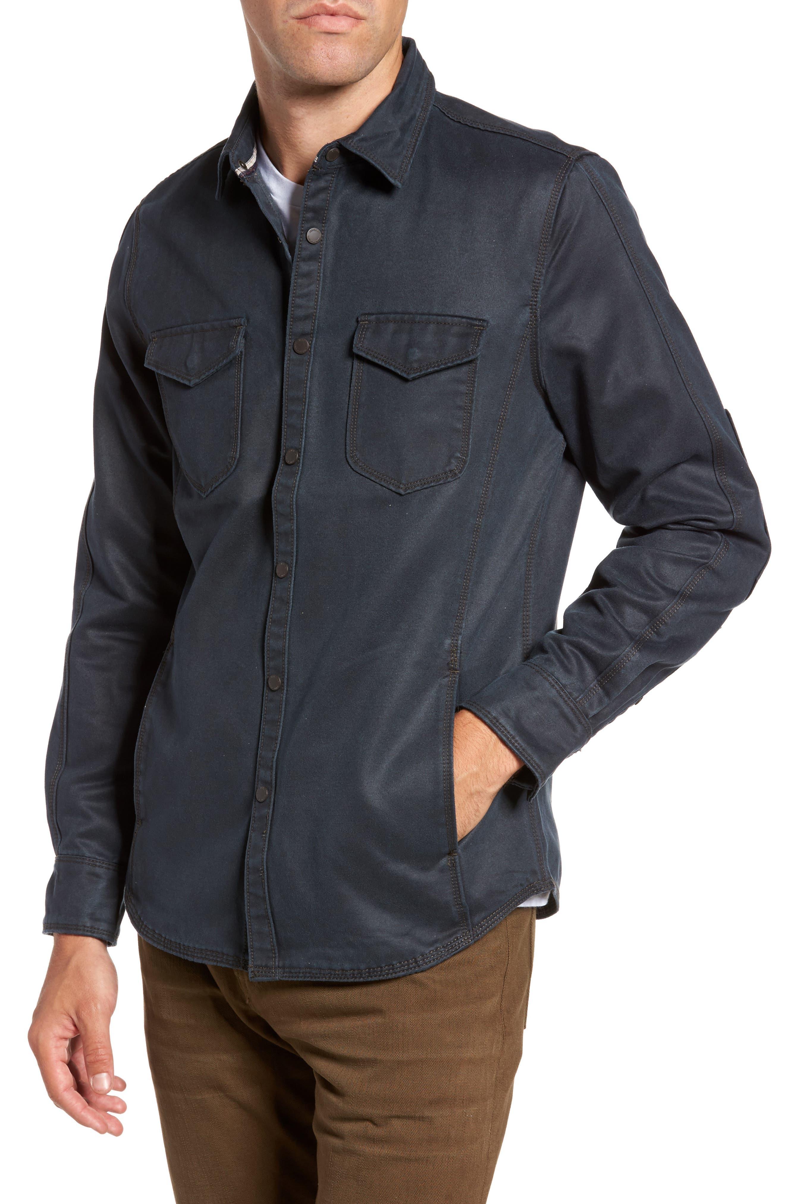 'Colt' Regular Fit Sueded Cotton Blend Shirt Jacket,                             Alternate thumbnail 4, color,                             INKWELL