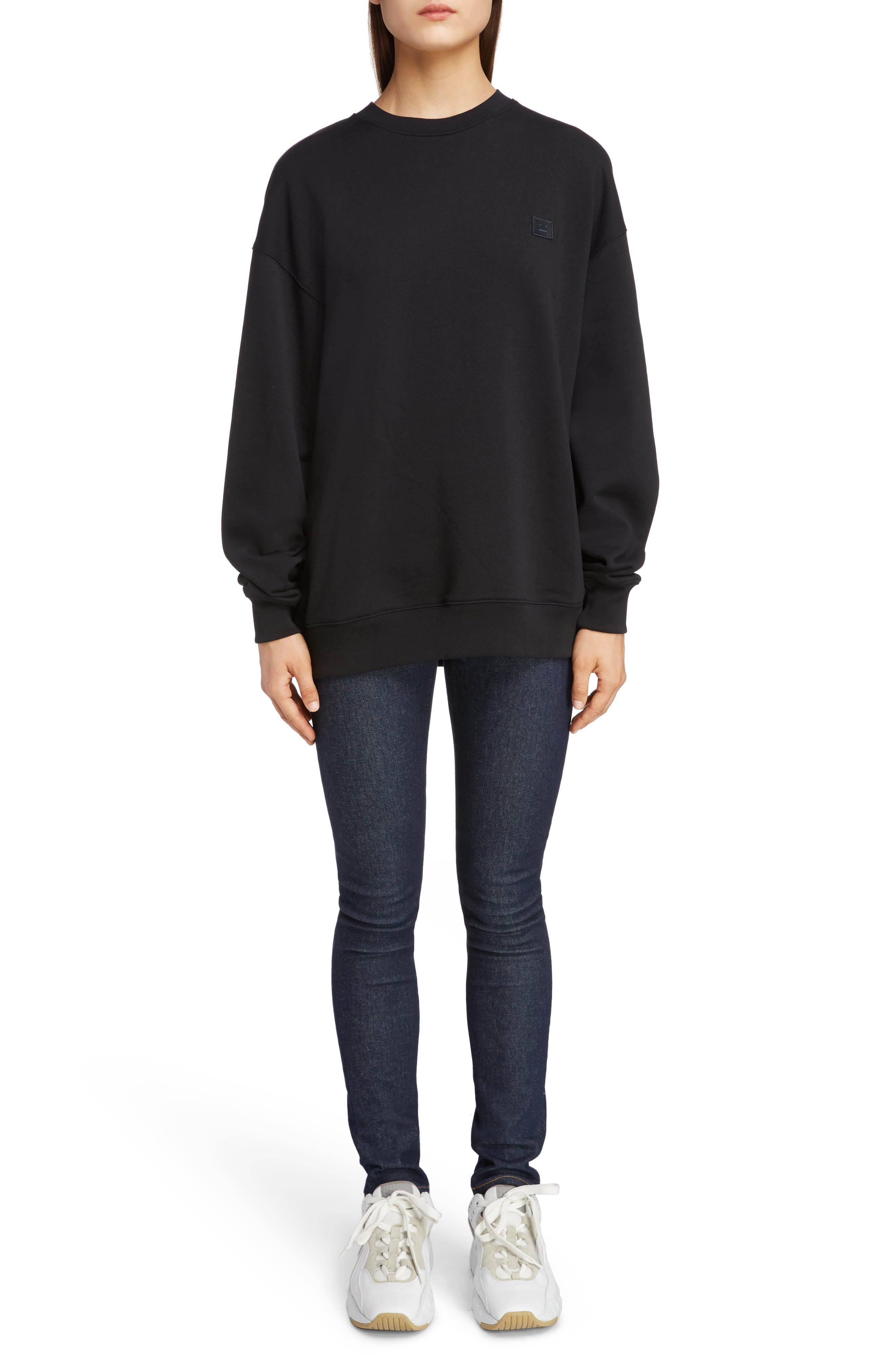 ACNE STUDIOS,                             Forba Face Sweatshirt,                             Alternate thumbnail 6, color,                             BLACK