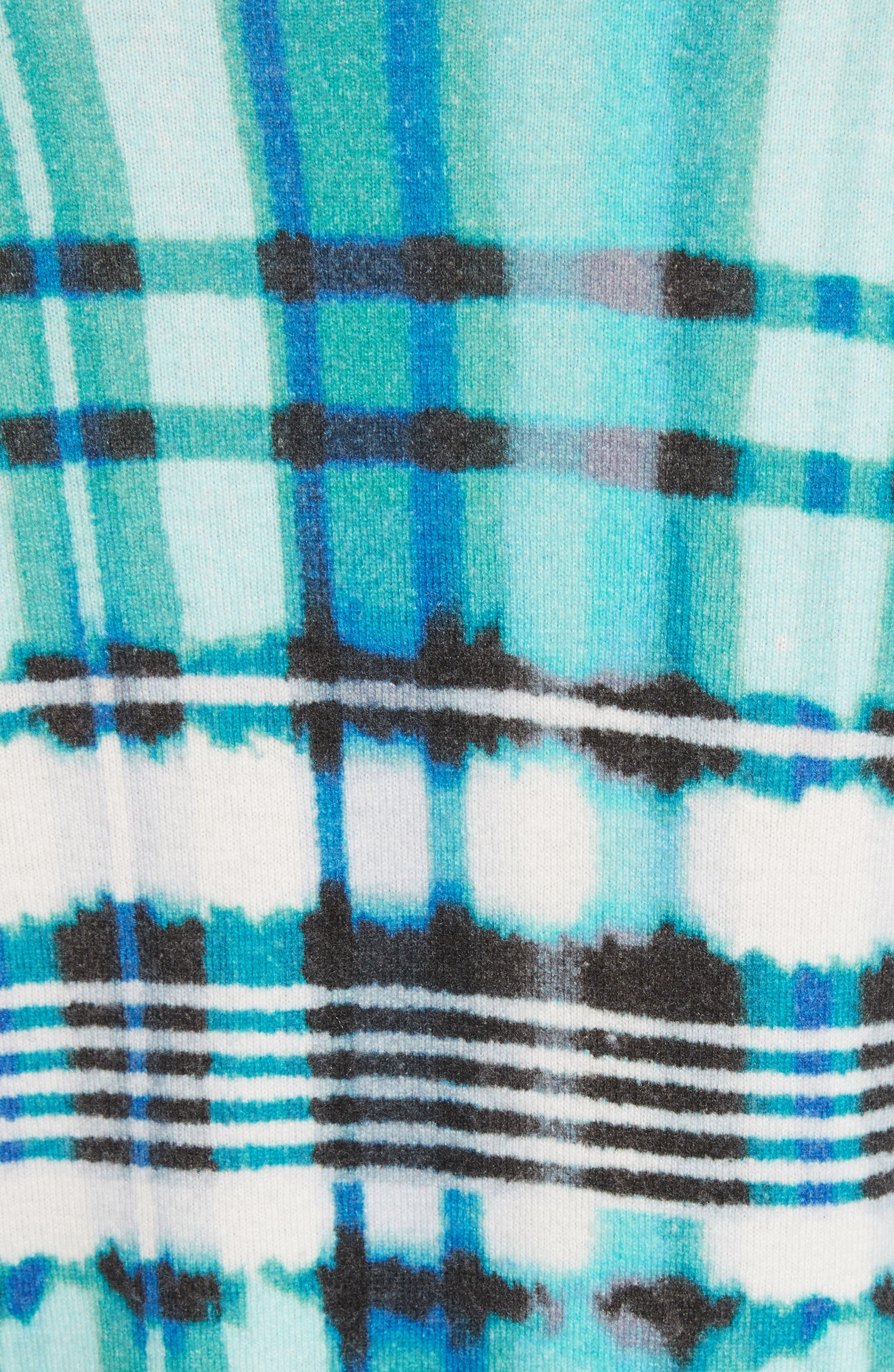 Overprint Plaid Cashmere Sweater,                             Alternate thumbnail 5, color,                             350