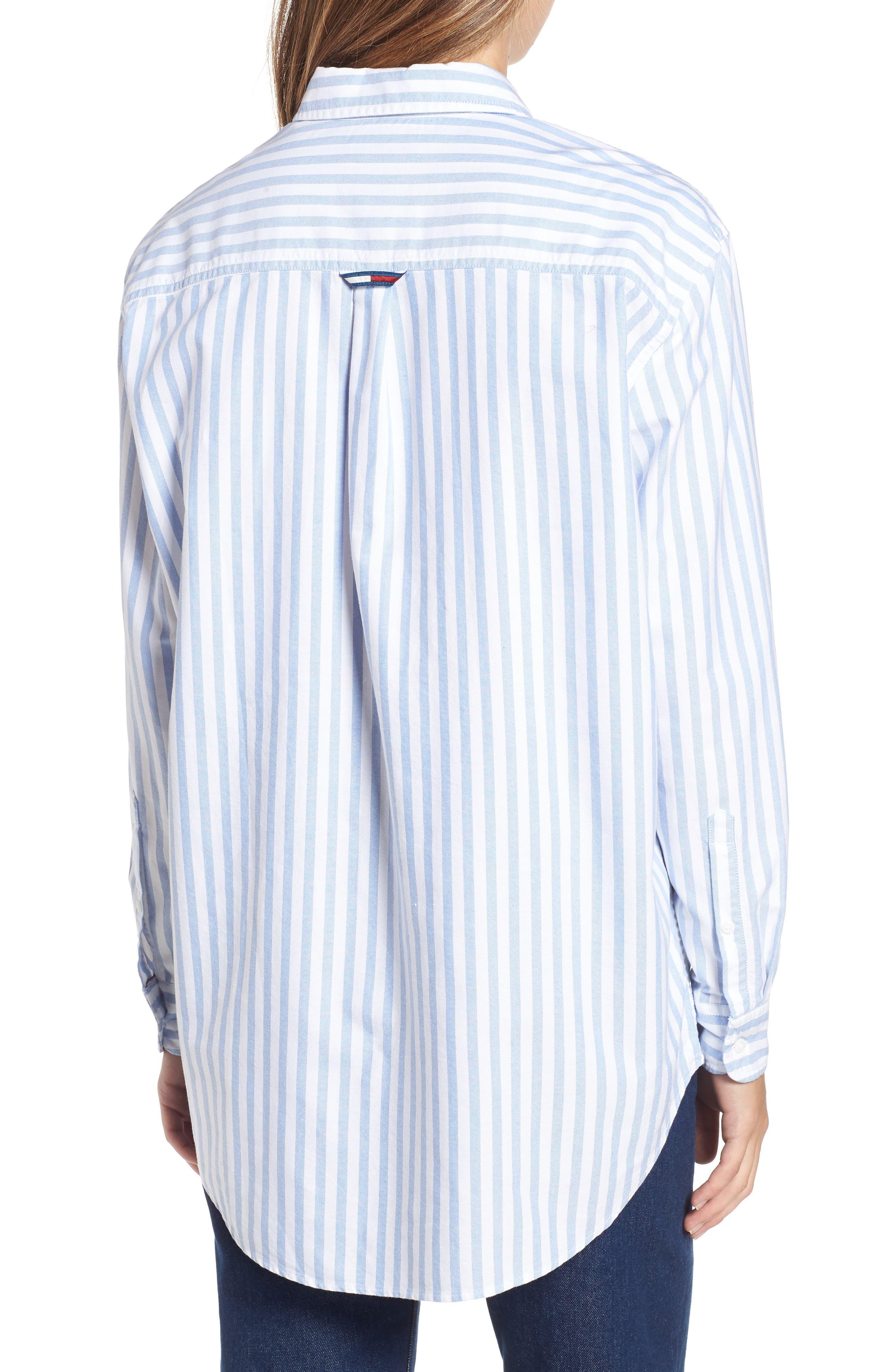 TJW Classics Stripe Shirt,                             Alternate thumbnail 2, color,                             BRIGHT WHITE / LIGHT BLUE