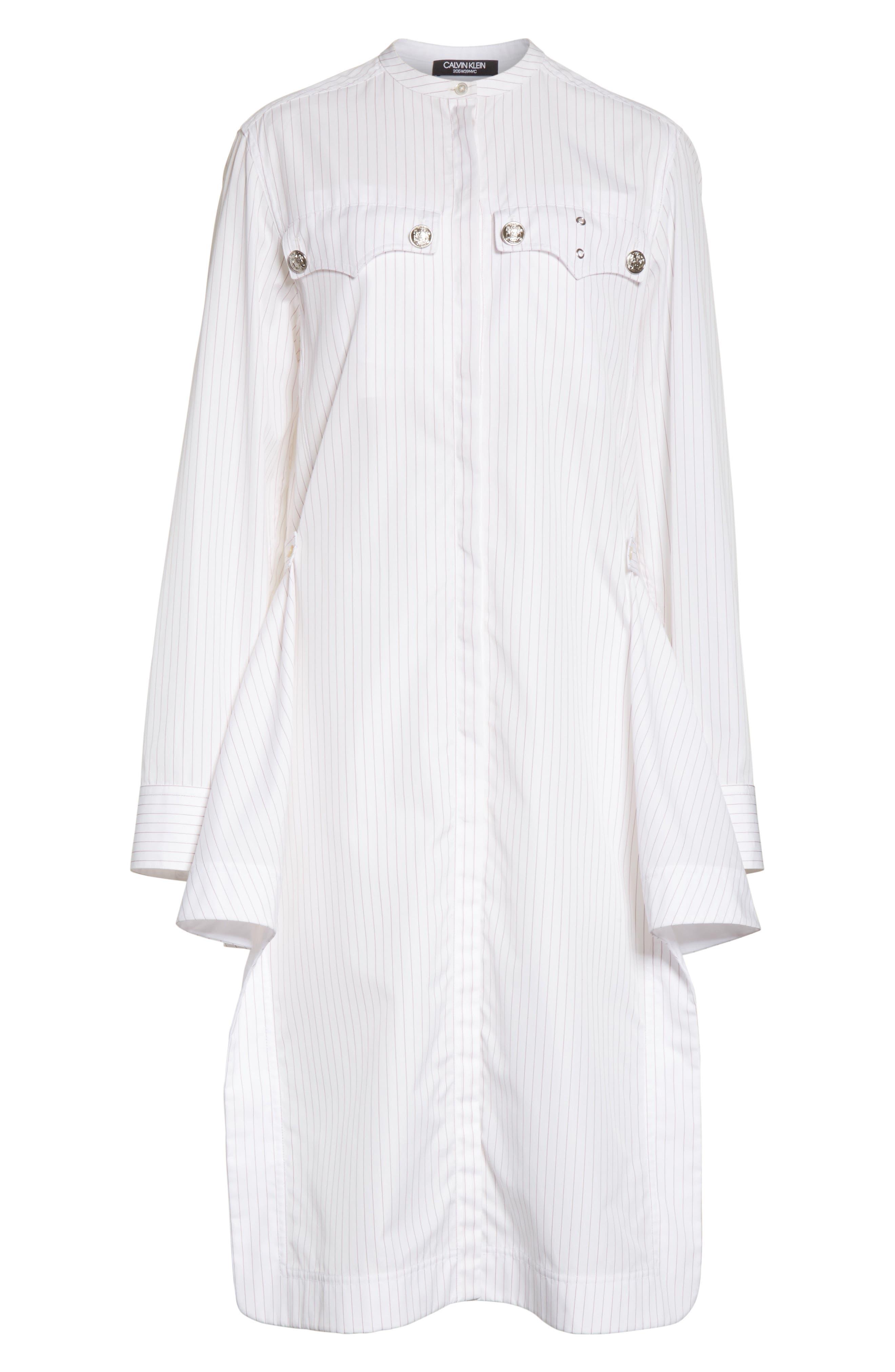 Pinstripe Cotton Poplin Dress,                             Alternate thumbnail 6, color,                             100