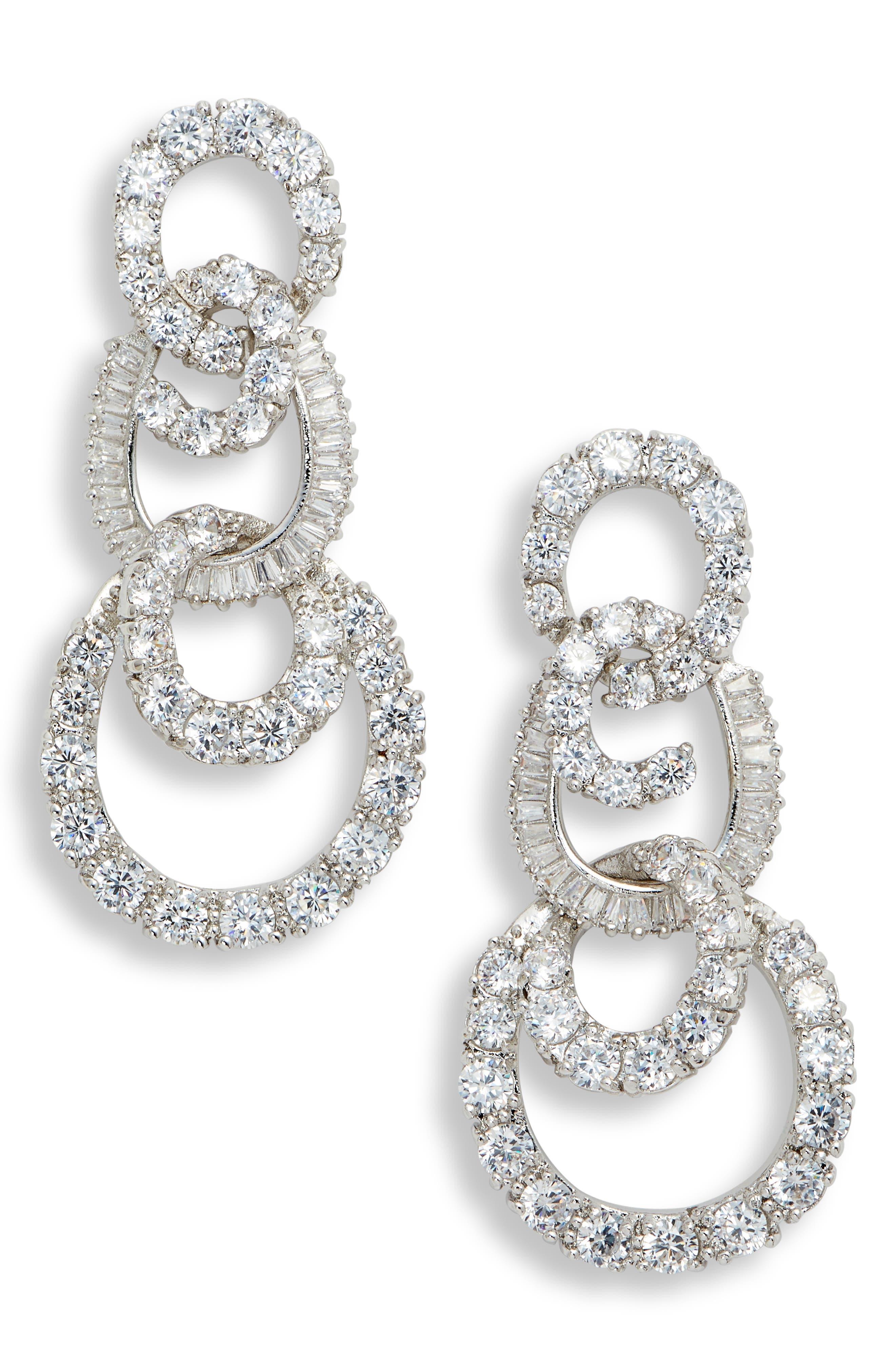 3-Tier Swirl Drop Earrings,                             Main thumbnail 1, color,                             WHITE/ SILVER