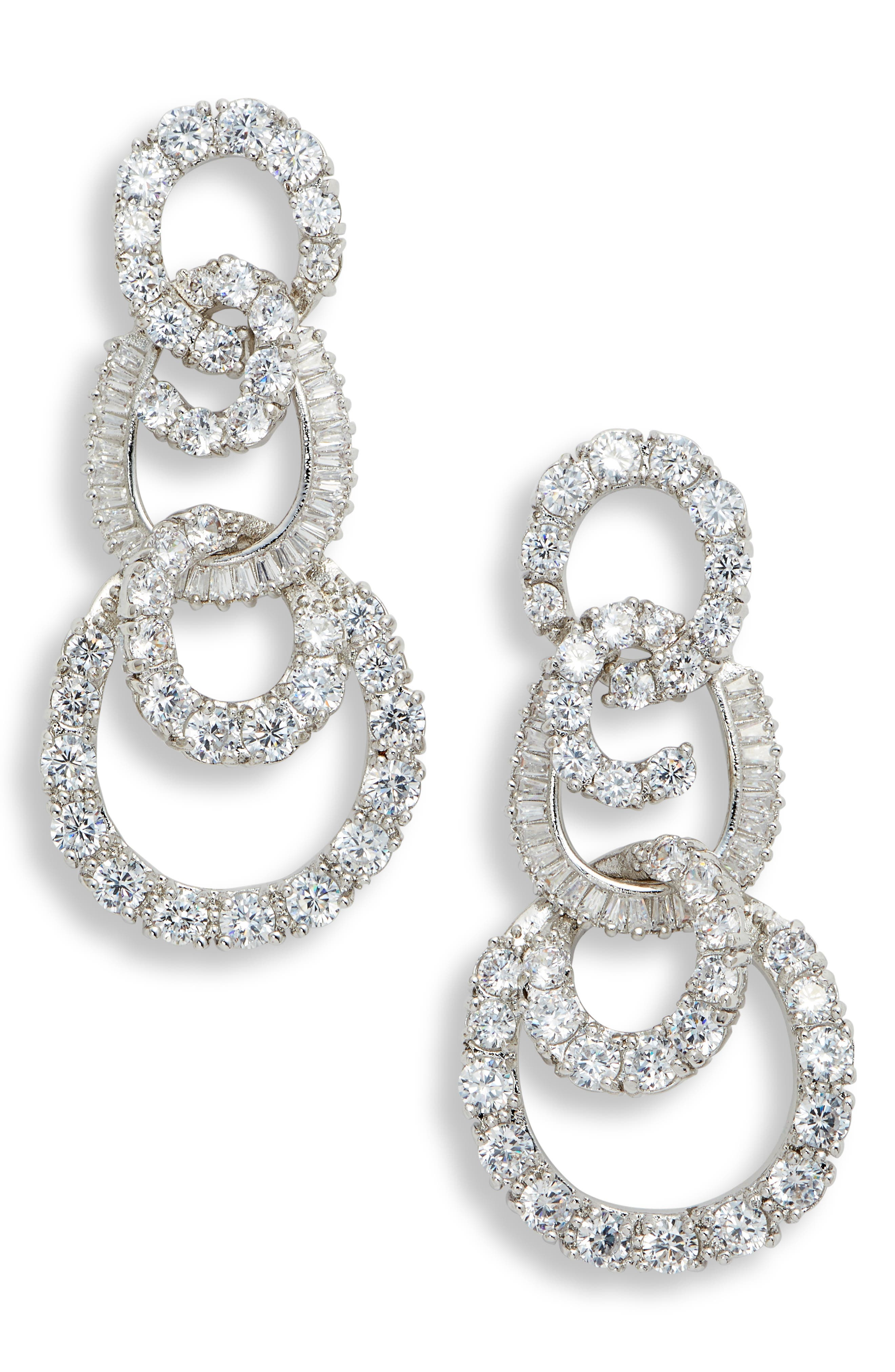 3-Tier Swirl Drop Earrings,                         Main,                         color, WHITE/ SILVER