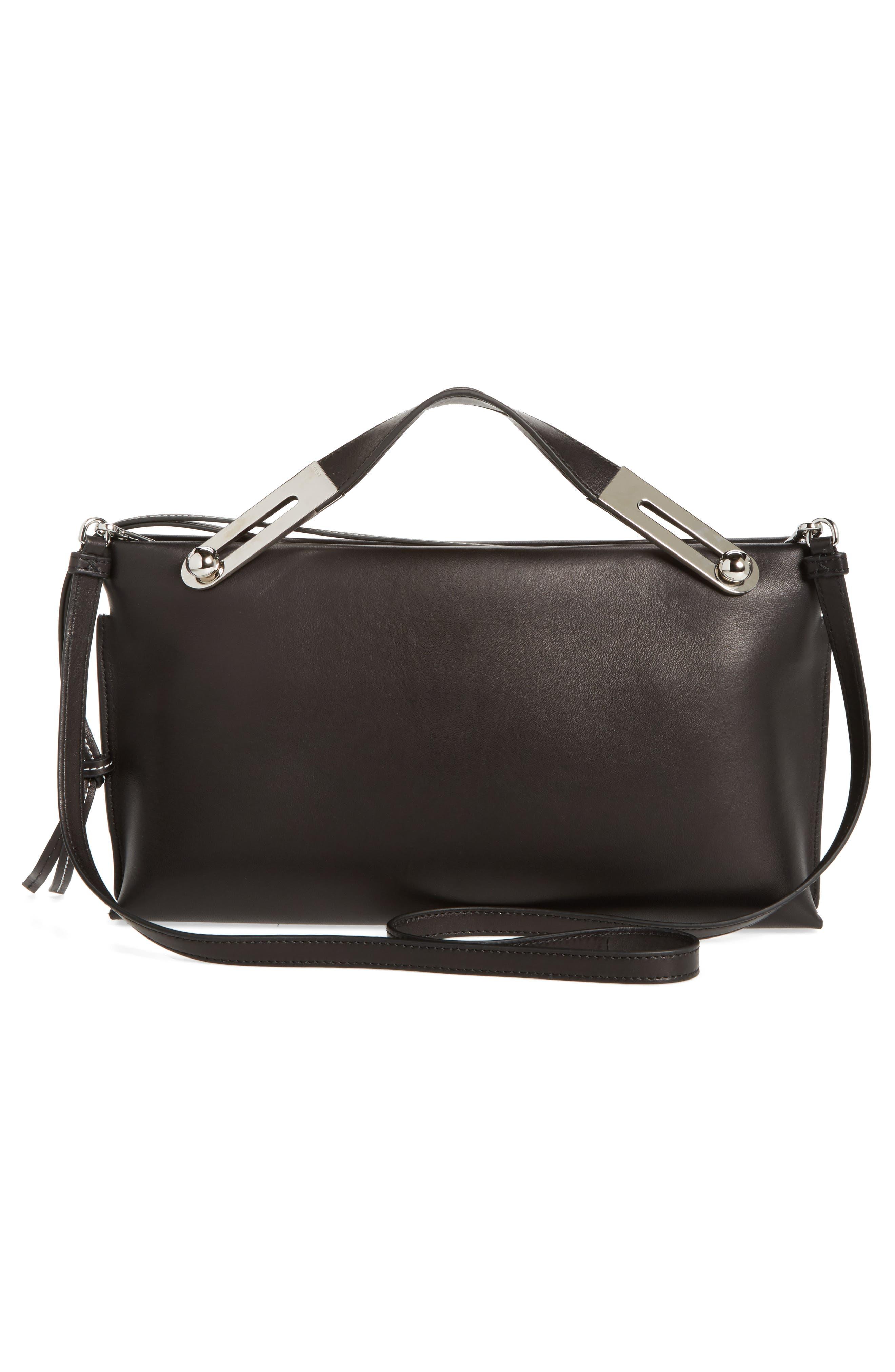Missy Lambskin Leather Shoulder Bag,                             Alternate thumbnail 3, color,                             BLACK