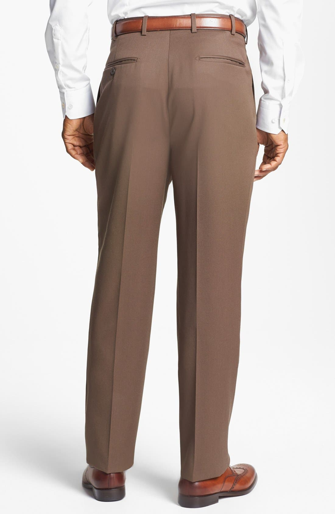 Pleated Super 100s Worsted Wool Trousers,                             Alternate thumbnail 13, color,