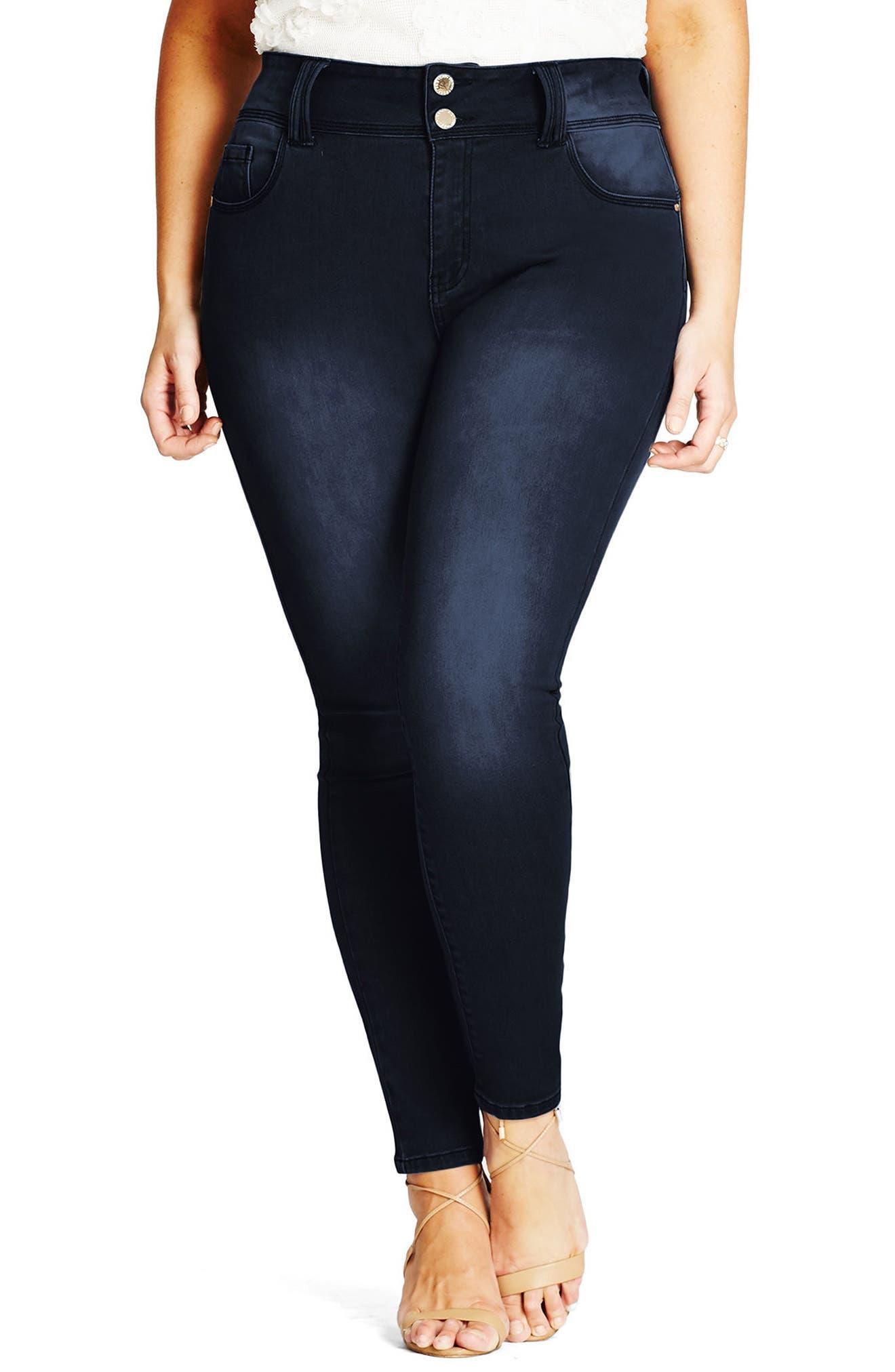 Asha Skinny Jeans,                             Main thumbnail 1, color,                             DARK DENIM