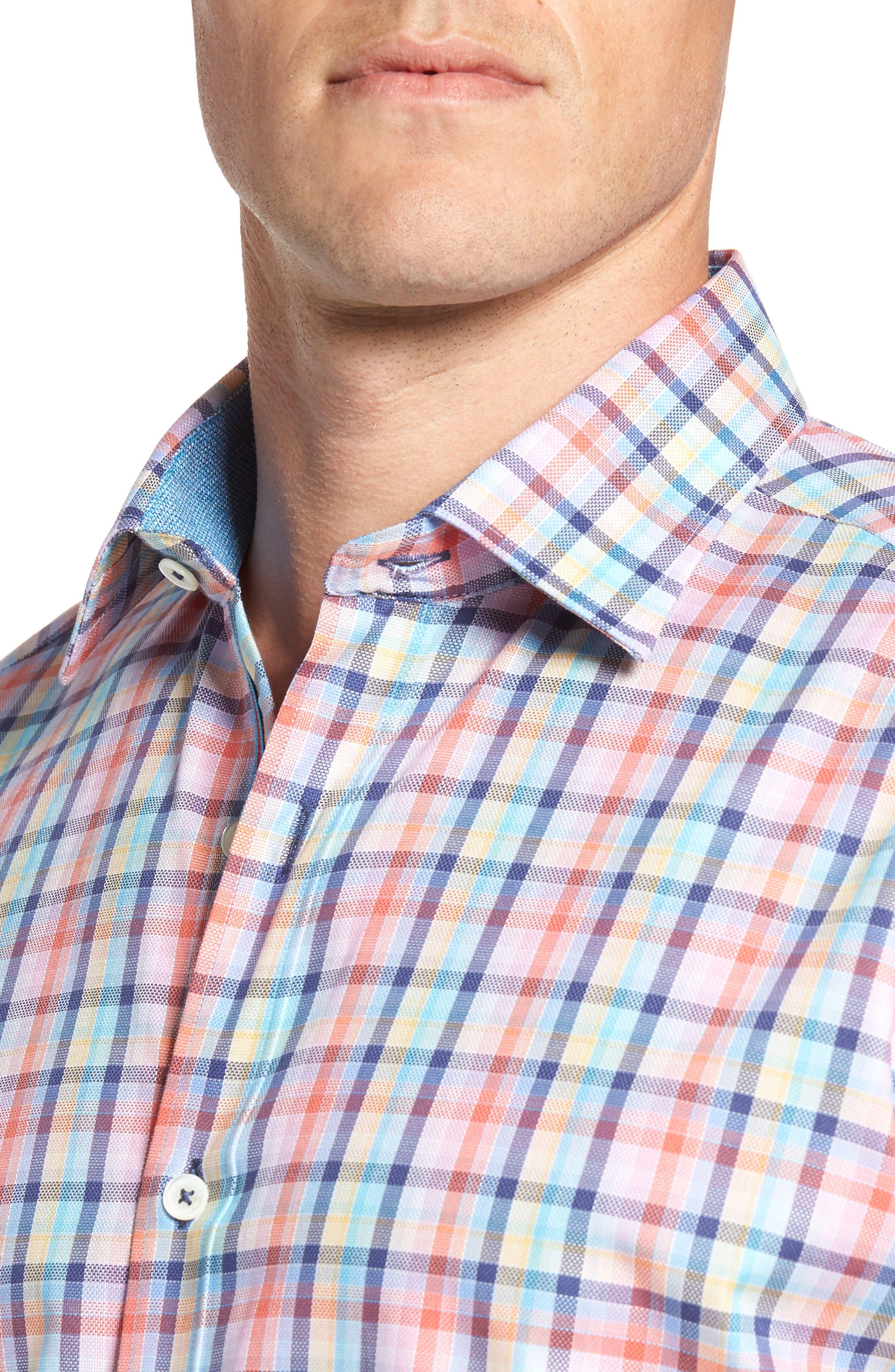 Classic Fit Check Short Sleeve Sport Shirt,                             Alternate thumbnail 4, color,                             953