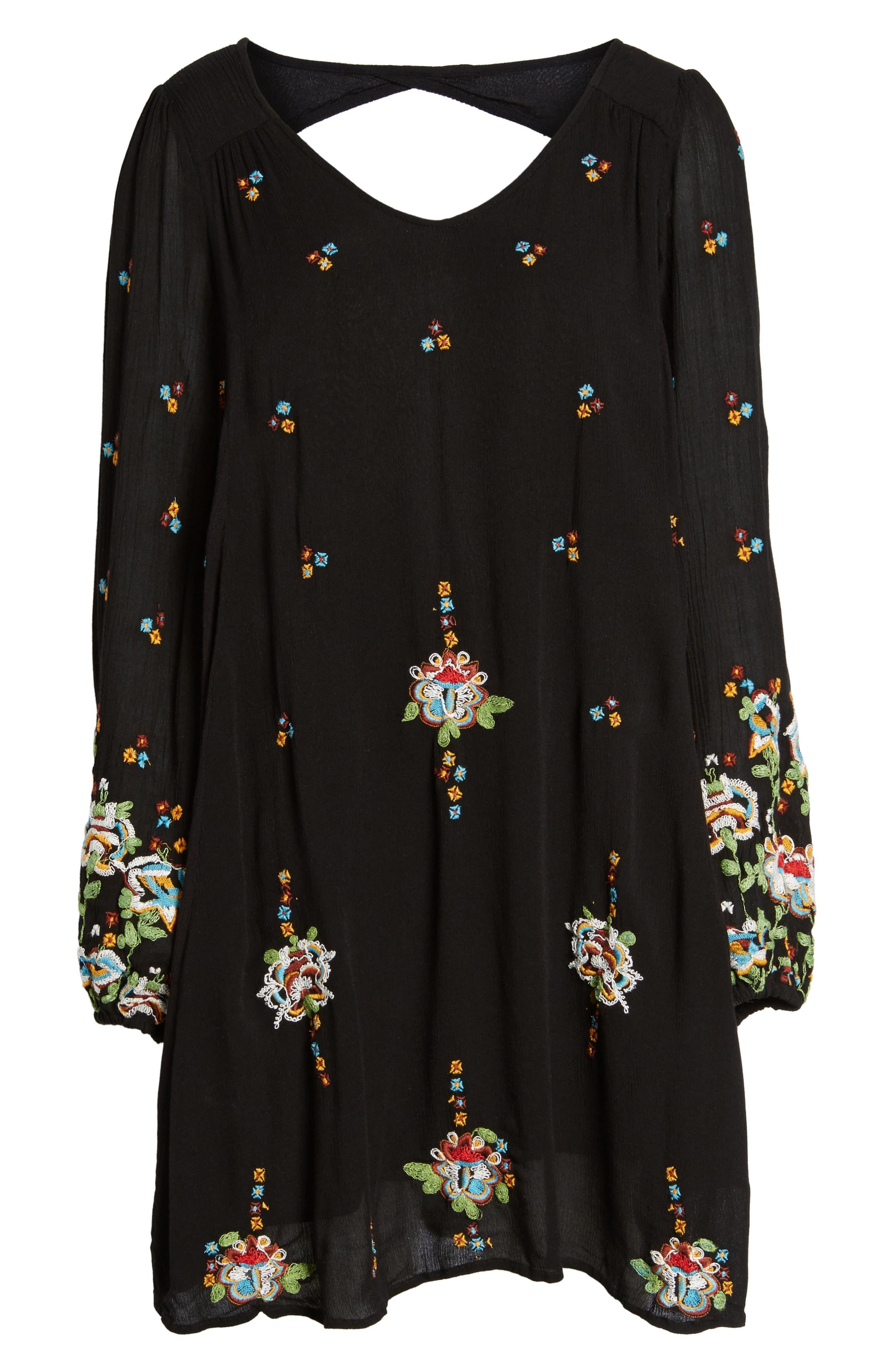 Embroidered Minidress,                             Alternate thumbnail 7, color,                             BLACK COMBO