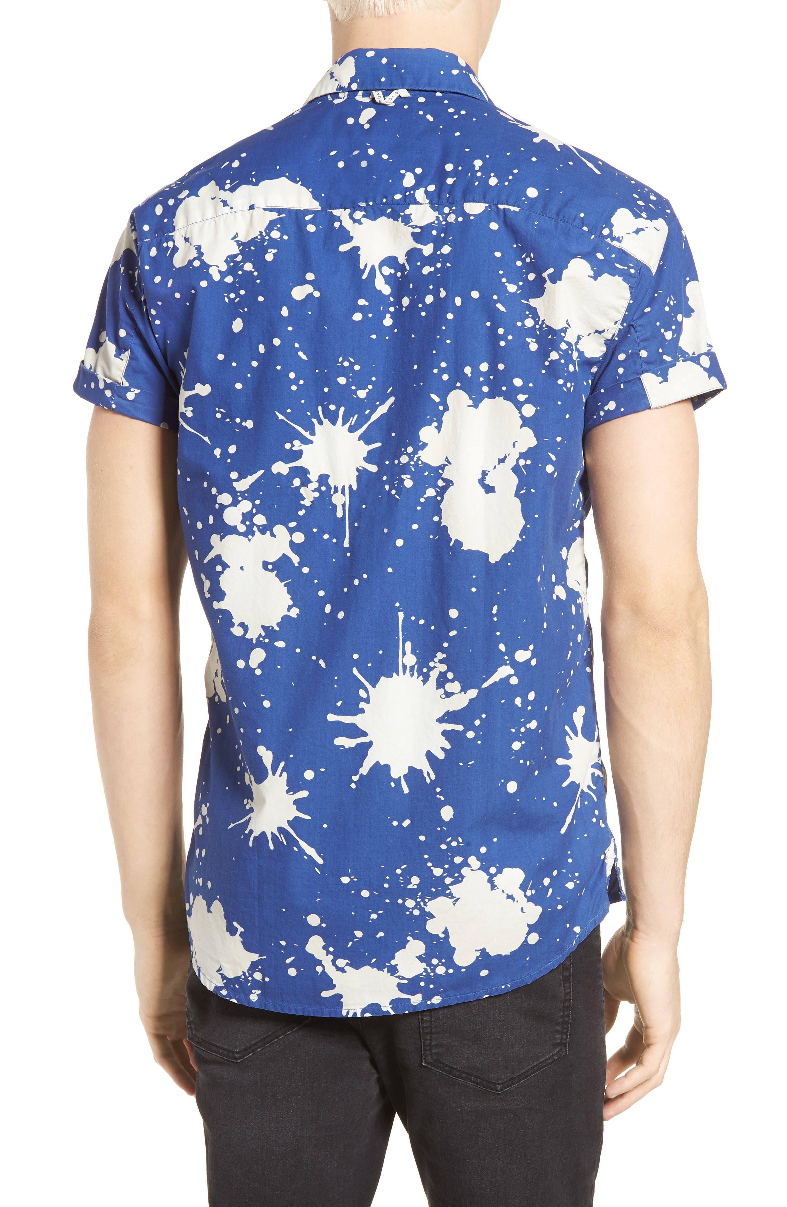 Amsterdams Blauw Allover Print Camp Shirt,                             Alternate thumbnail 2, color,                             BLUE