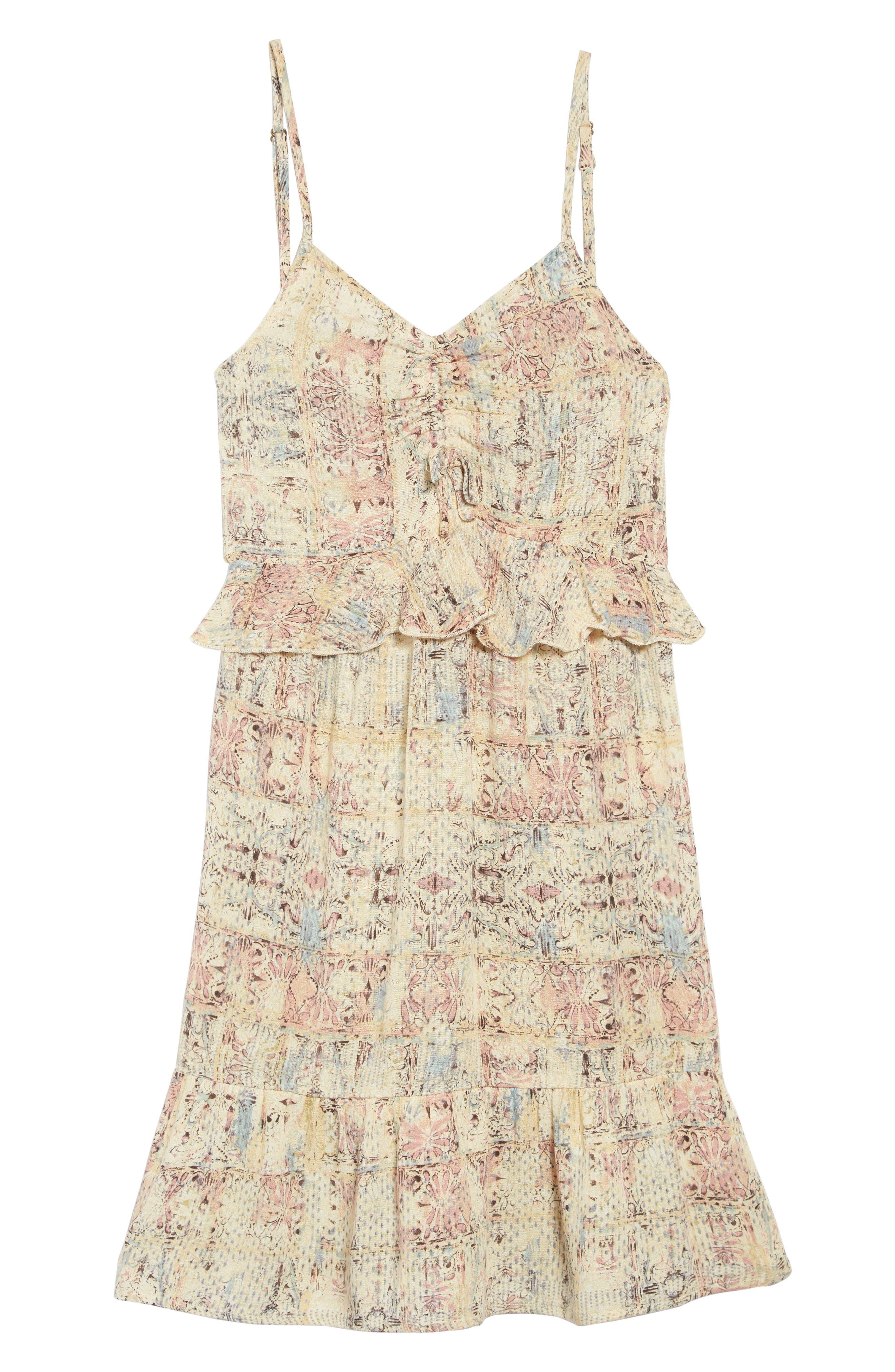Lithia Peplum High/Low Dress, Main, color, MULTI COLORED