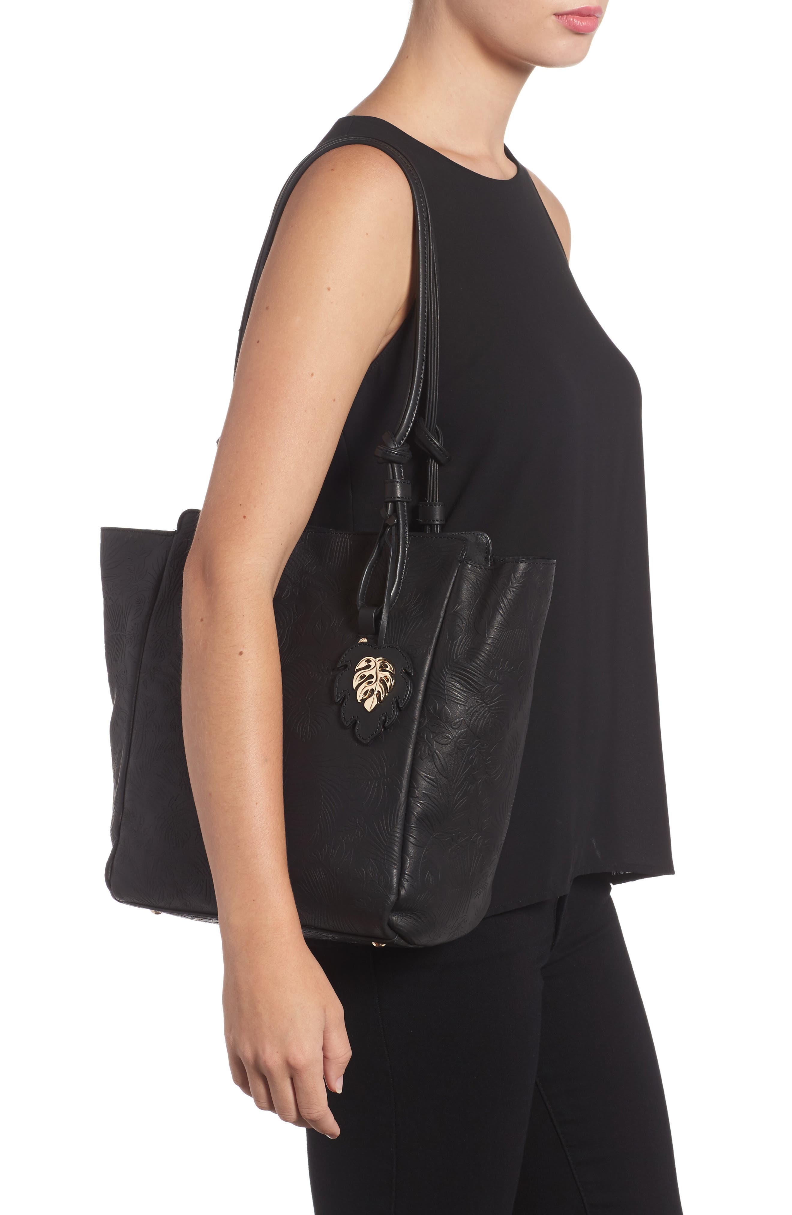 Embossed Leather Tote,                             Alternate thumbnail 2, color,                             001