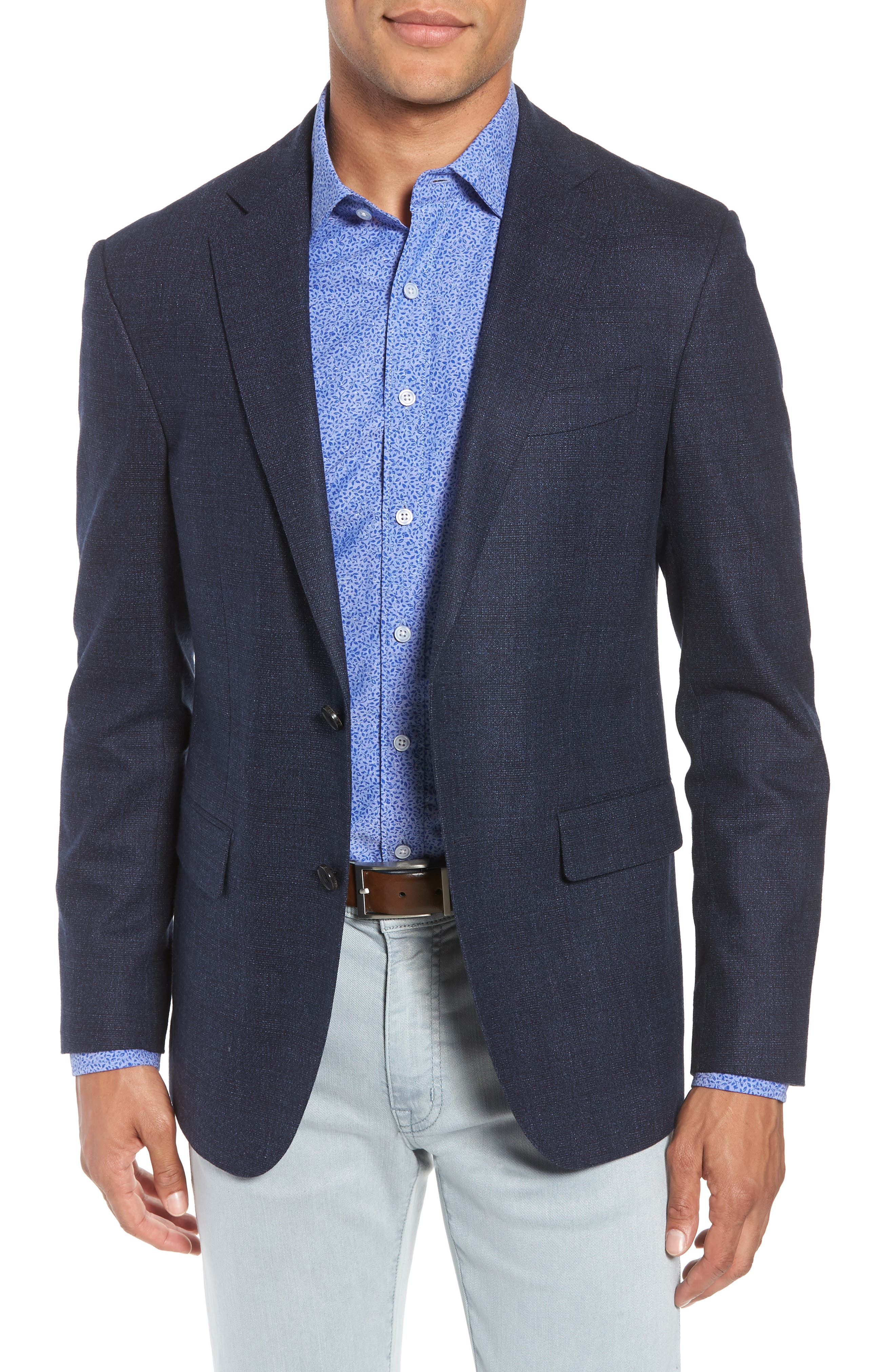 Dannevirk Ghost Check Stretch Wool Blend Blazer,                             Main thumbnail 1, color,                             NAVY