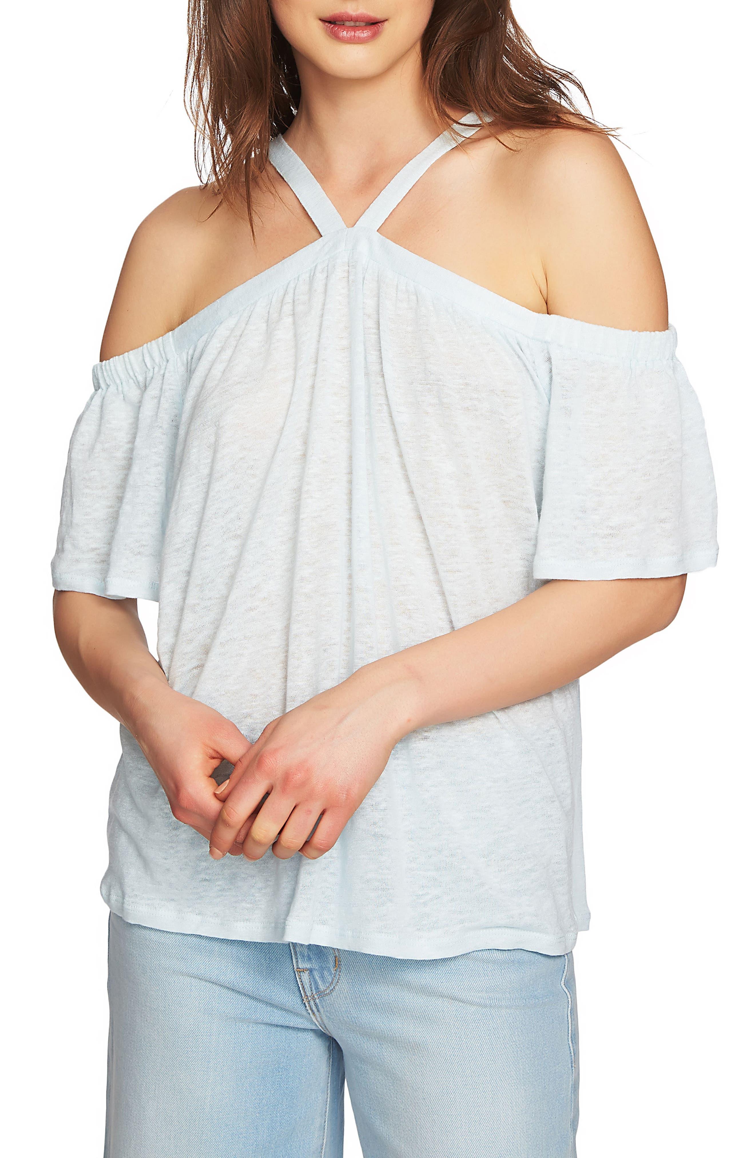Cold Shoulder Linen Top,                             Main thumbnail 3, color,