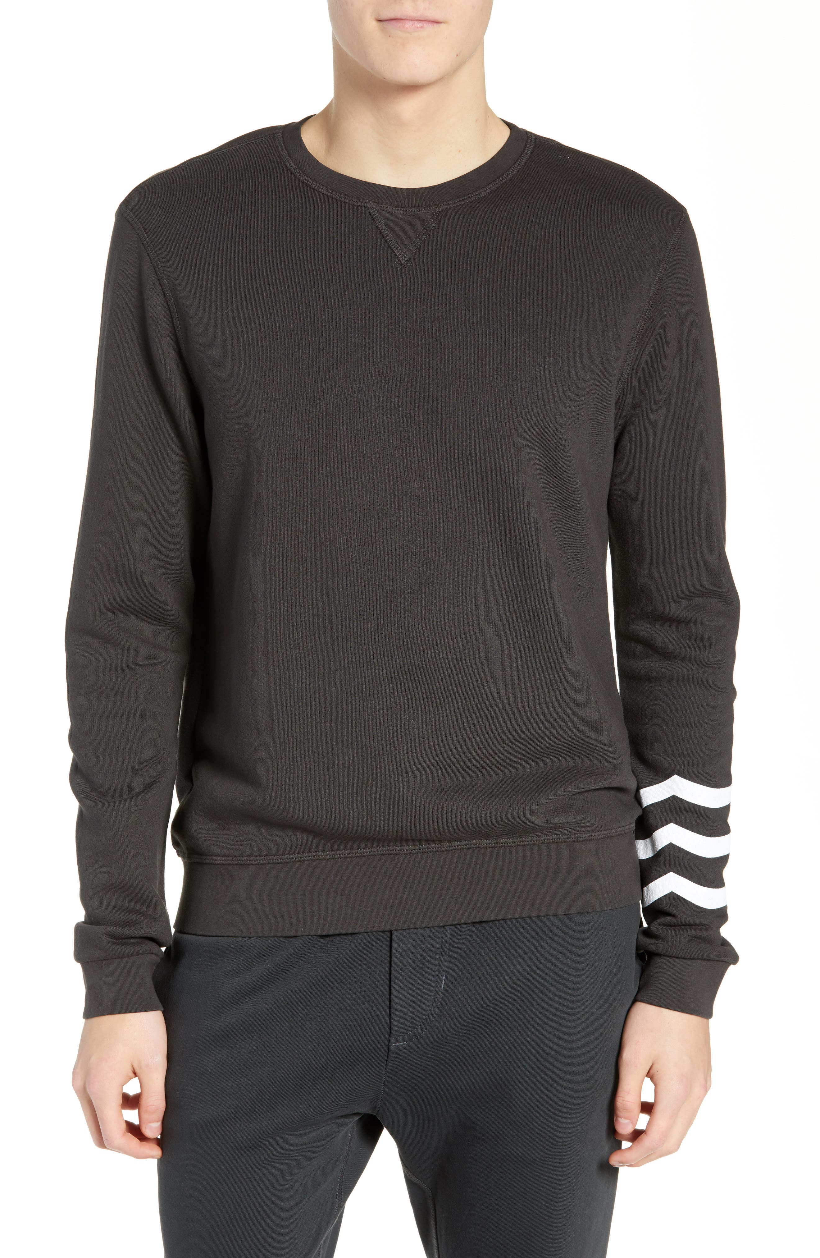 SOL ANGELES Essential Crewneck Sweatshirt in V Black