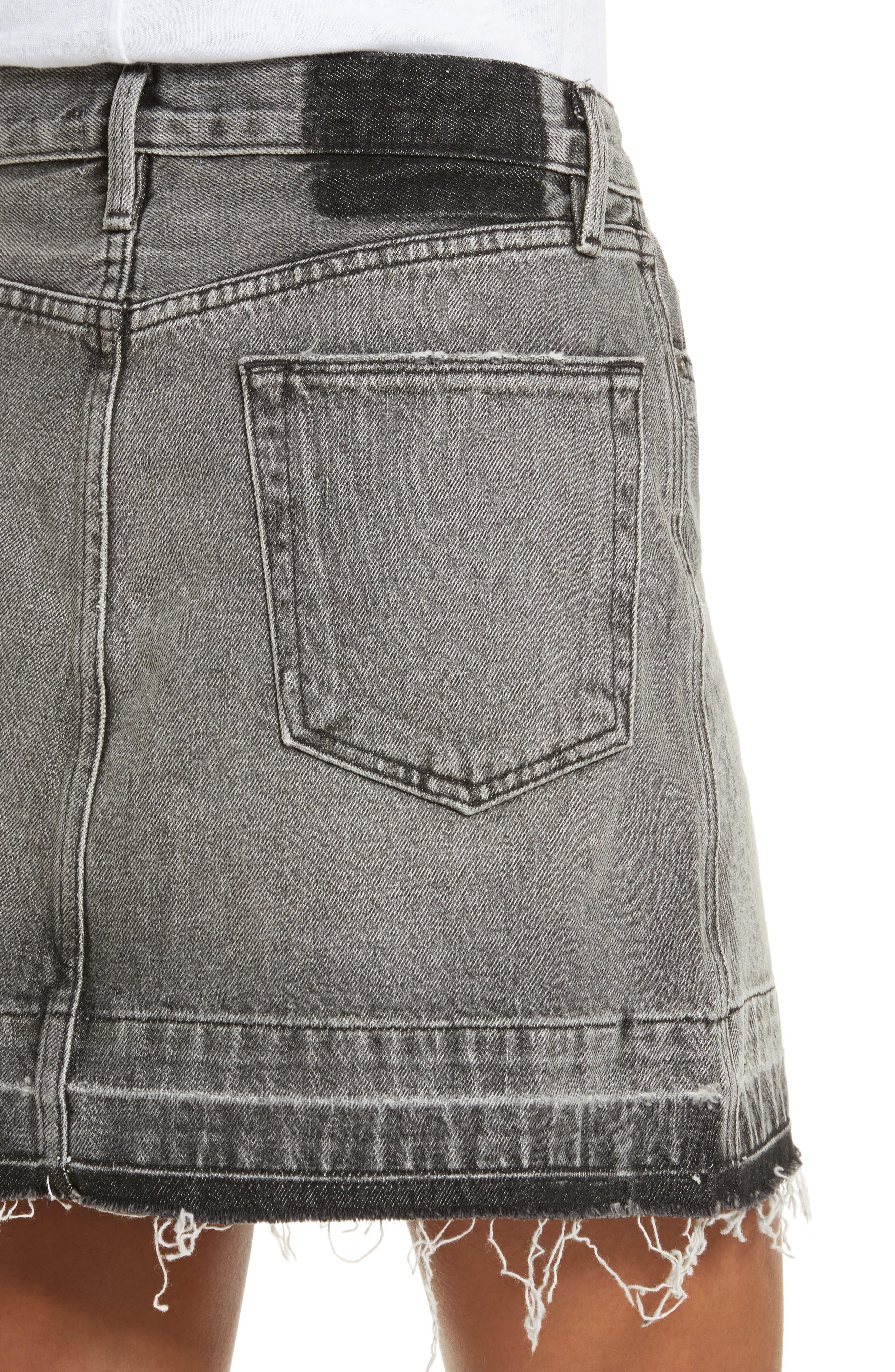 Frayed Hem Denim Skirt,                             Alternate thumbnail 4, color,                             030