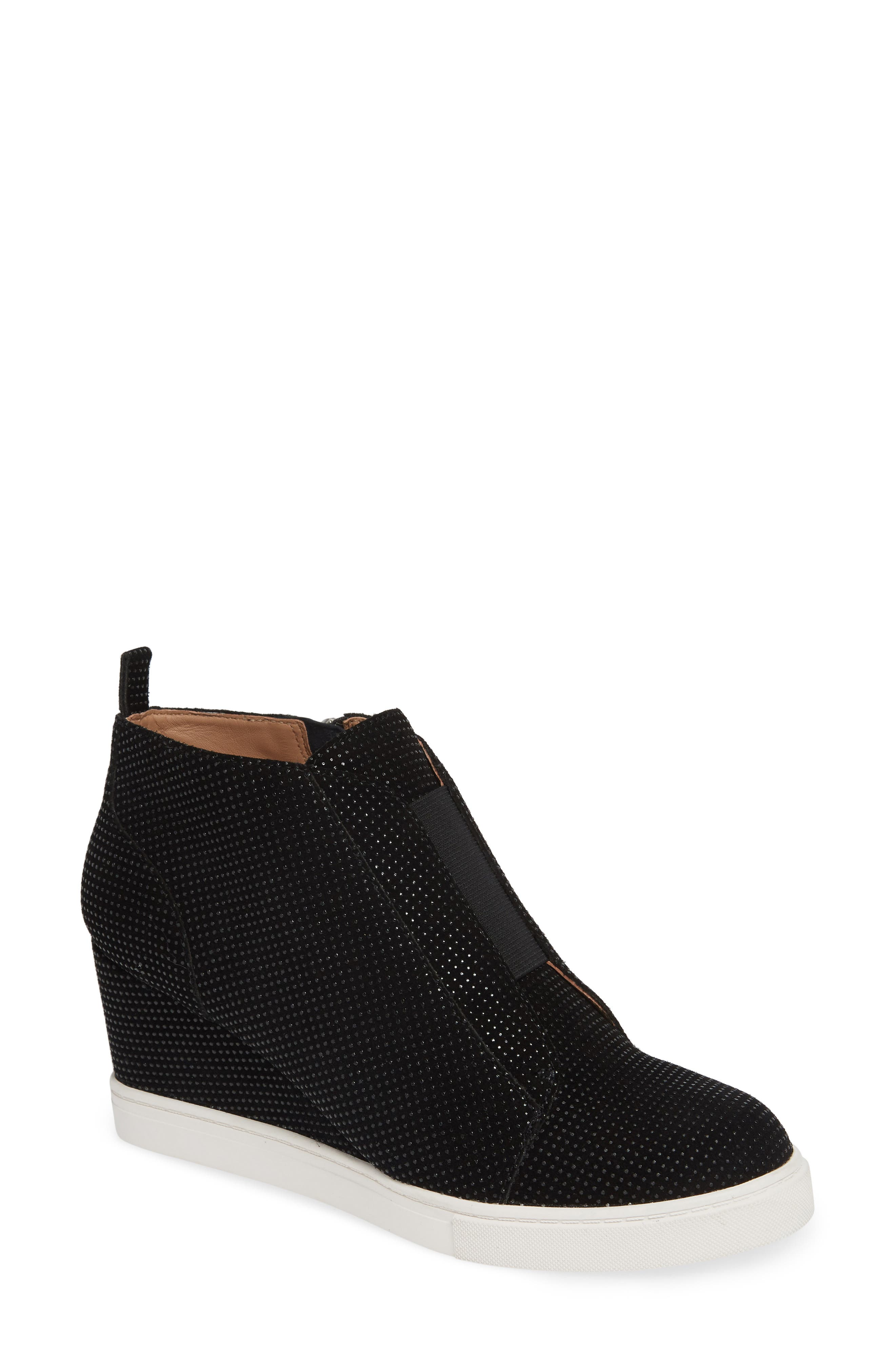 'Felicia' Wedge Bootie,                         Main,                         color, BLACK TEXTURED SUEDE