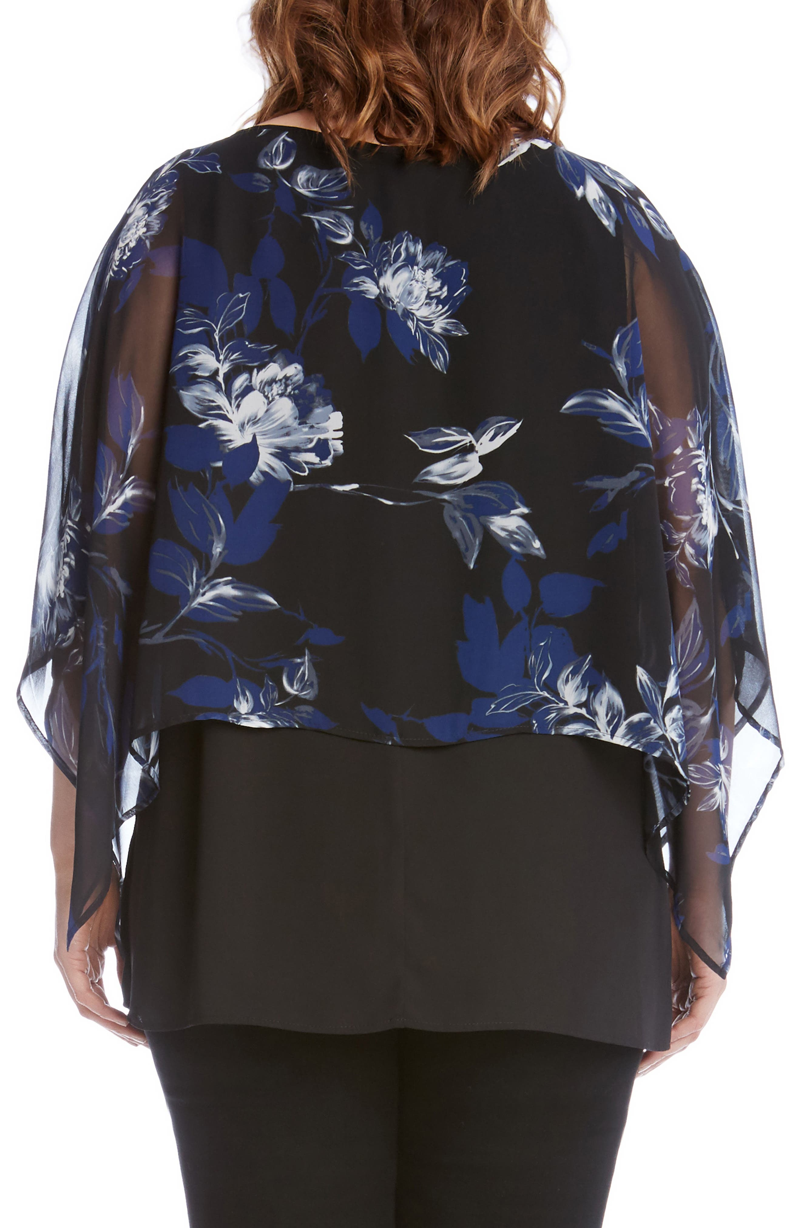 Floral Print Double Layer Boat Neck Top,                             Alternate thumbnail 2, color,                             460