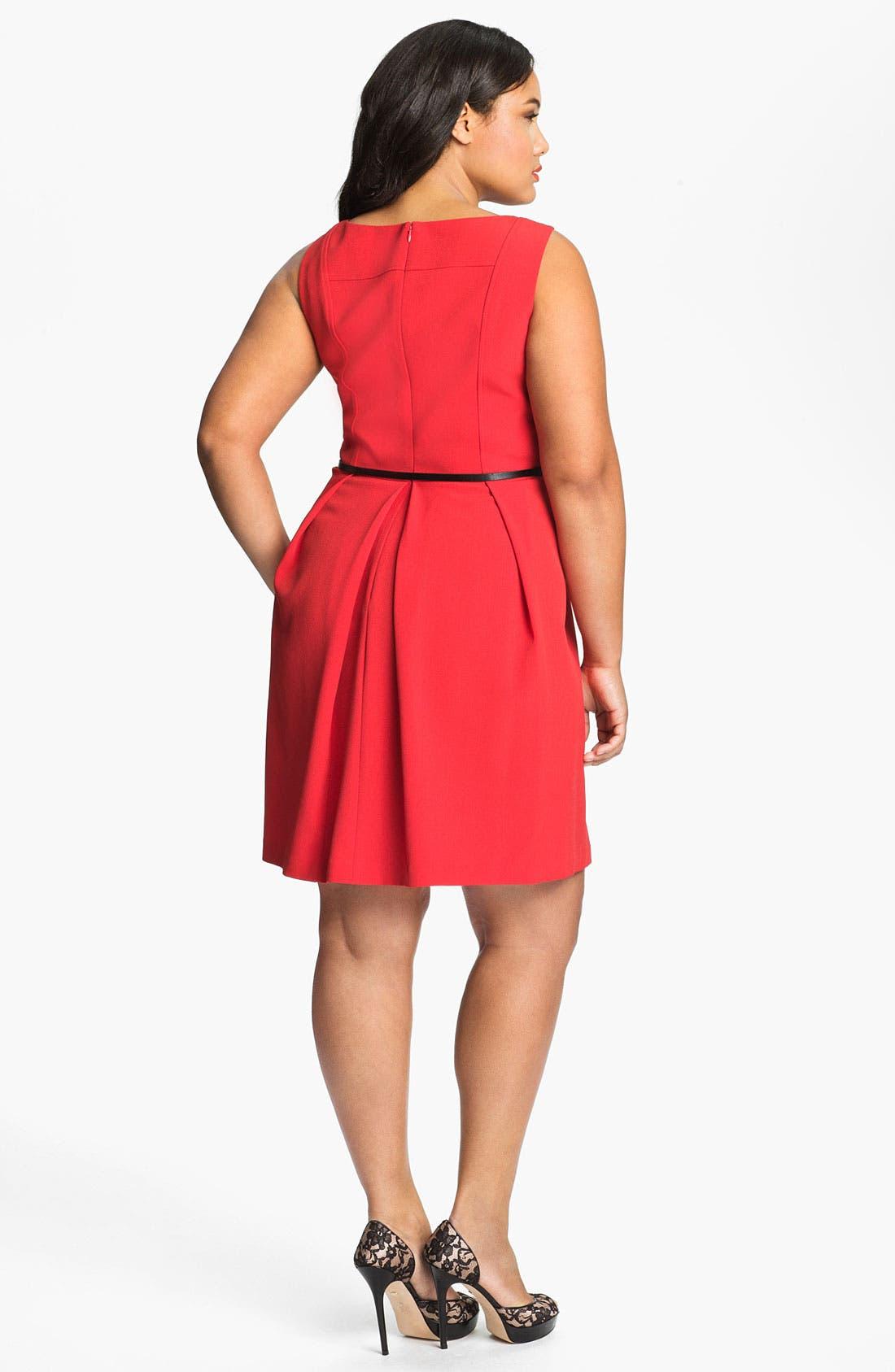 Belted A-Line Dress,                             Alternate thumbnail 3, color,                             600