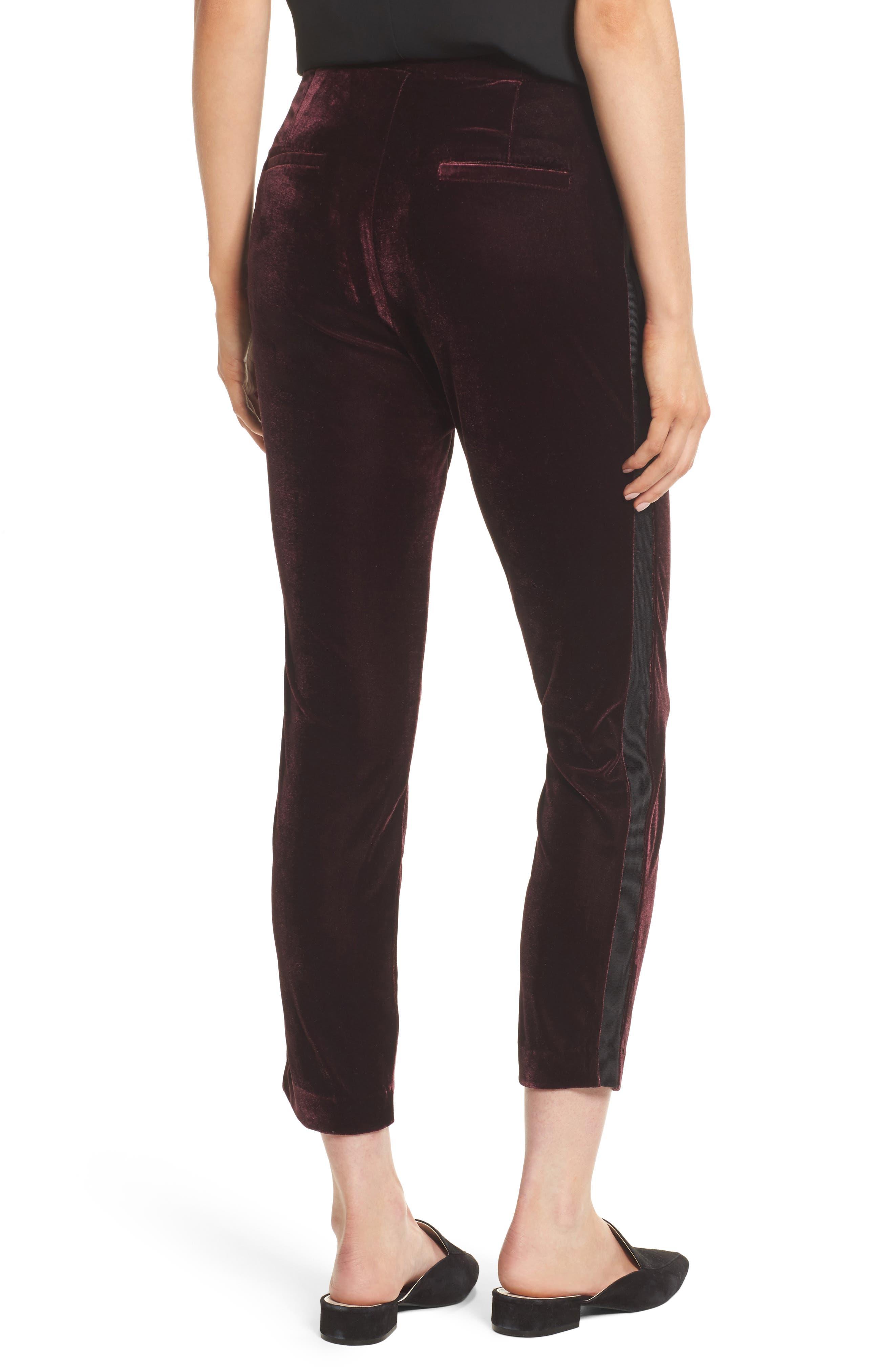 Evalina Velvet Crop Skinny Pants,                             Alternate thumbnail 4, color,
