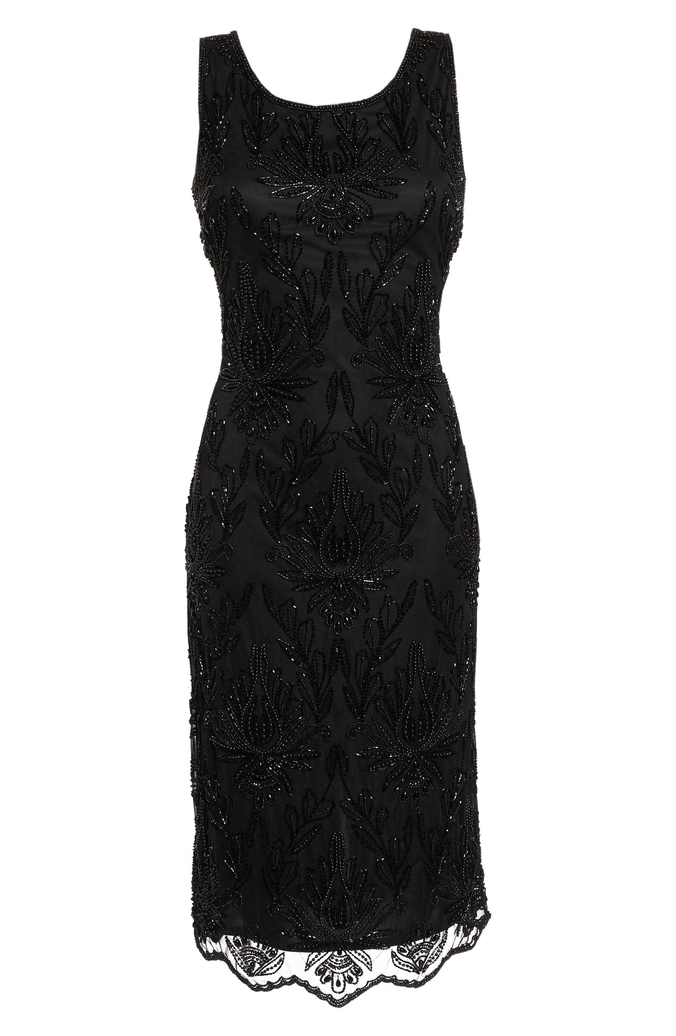 Lace Mid Dress,                             Alternate thumbnail 6, color,                             BLACK