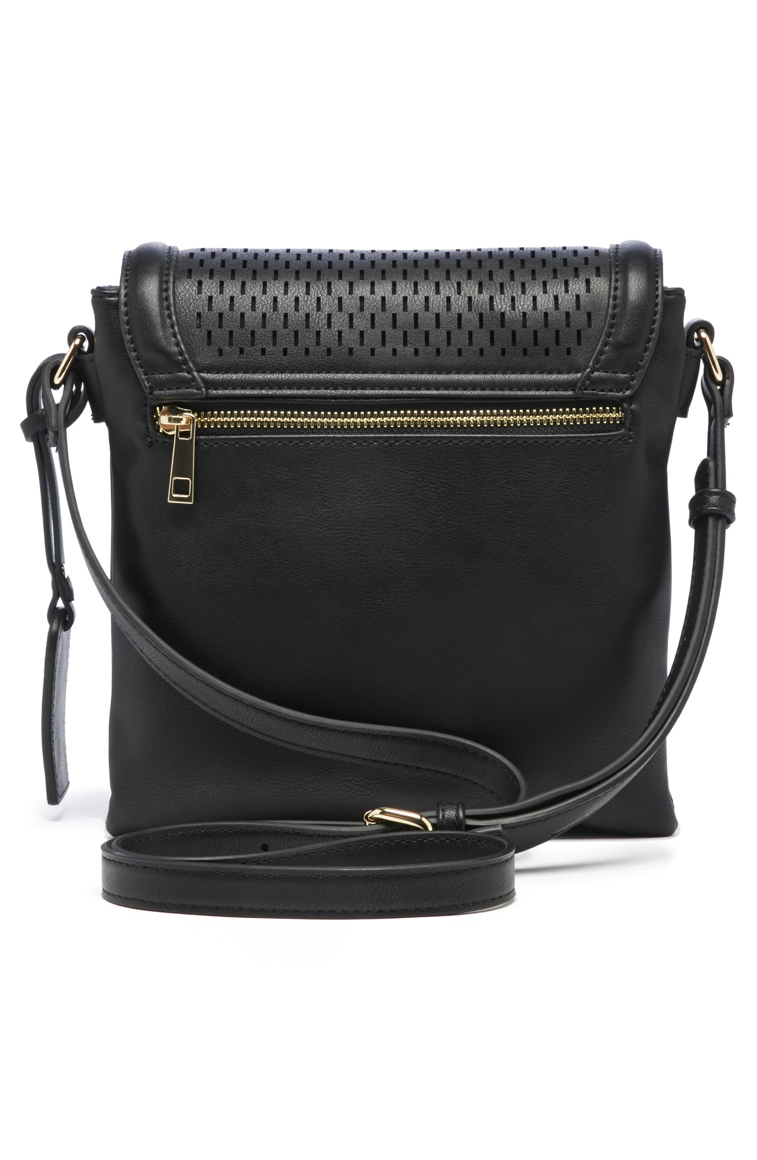 Daisa Faux Leather Crossbody Bag,                             Alternate thumbnail 2, color,                             BLACK