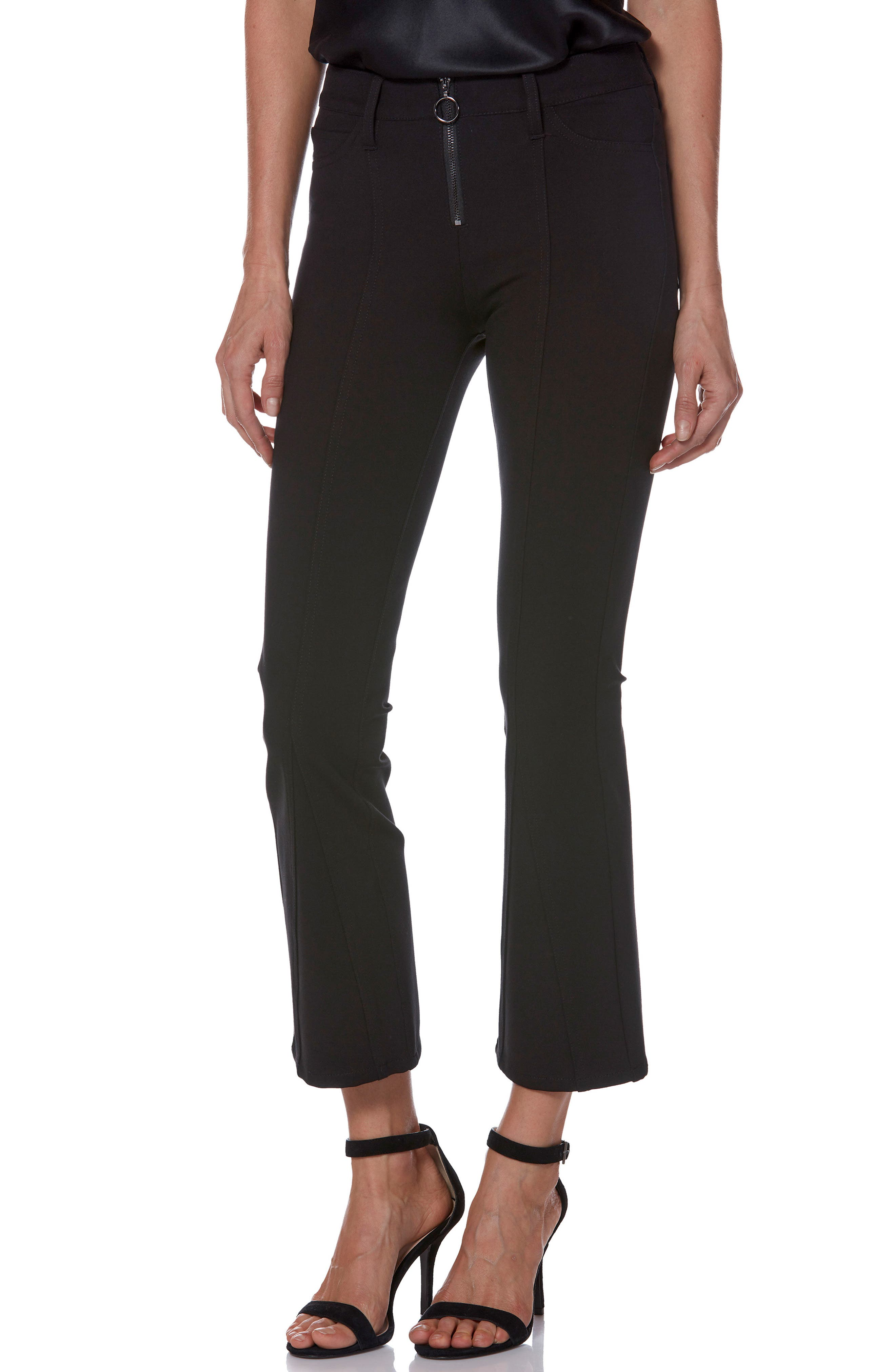 Paige Colette Zip High Waist Crop Flare Ponte Pants, 3 - Black