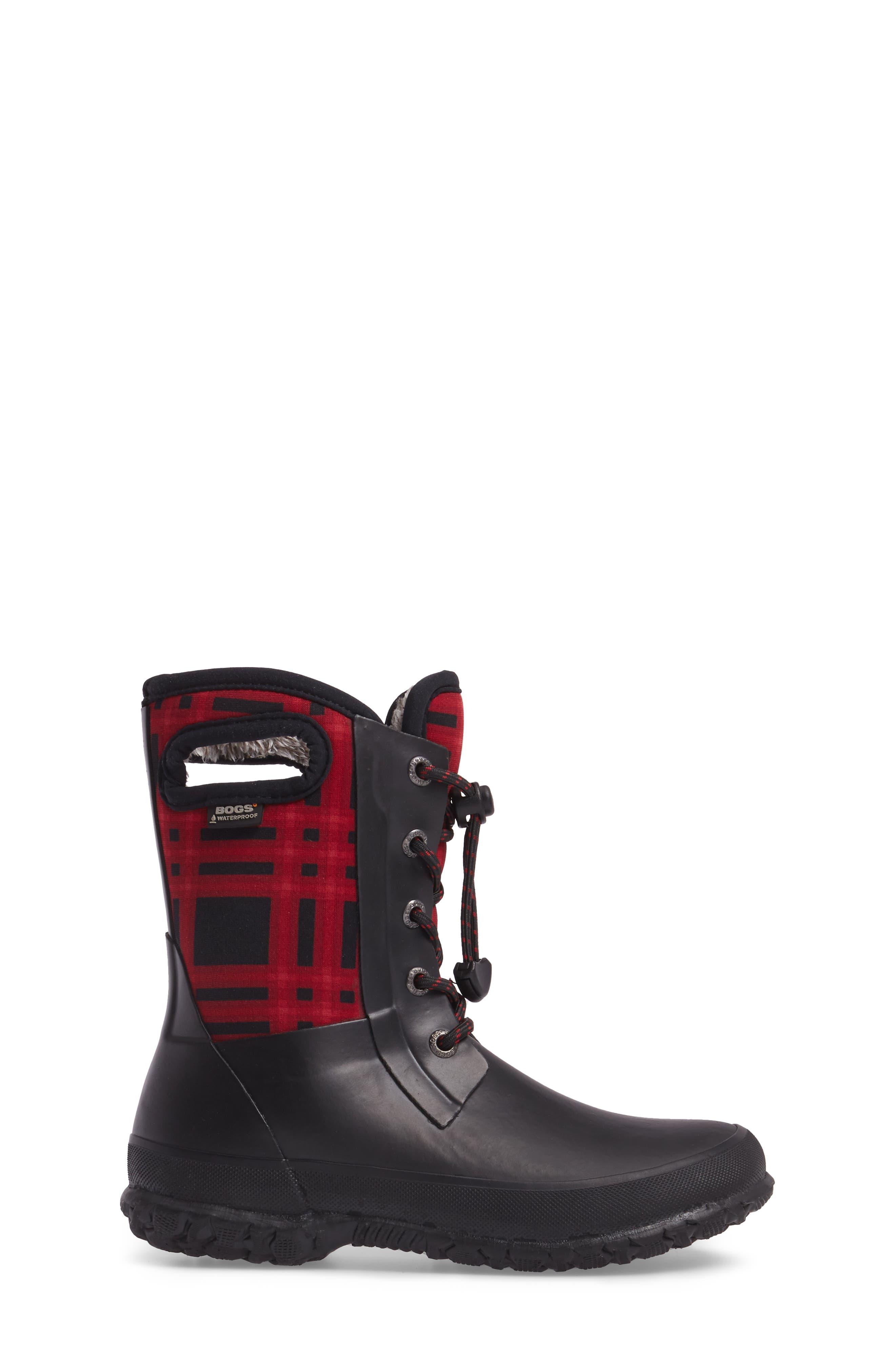 Amanda Plaid Insulated Waterproof Boot,                             Alternate thumbnail 3, color,                             009