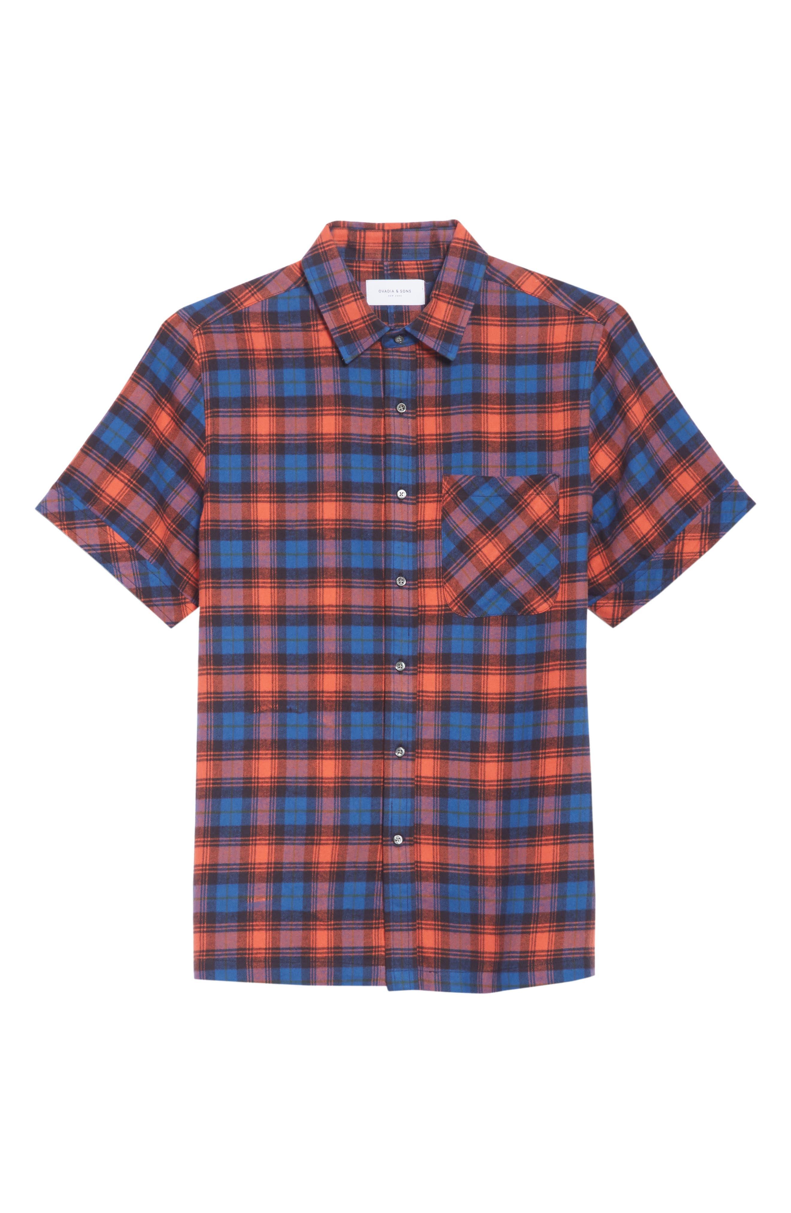 Plaid Flannel Camp Shirt,                             Alternate thumbnail 6, color,                             BLUE PLAID