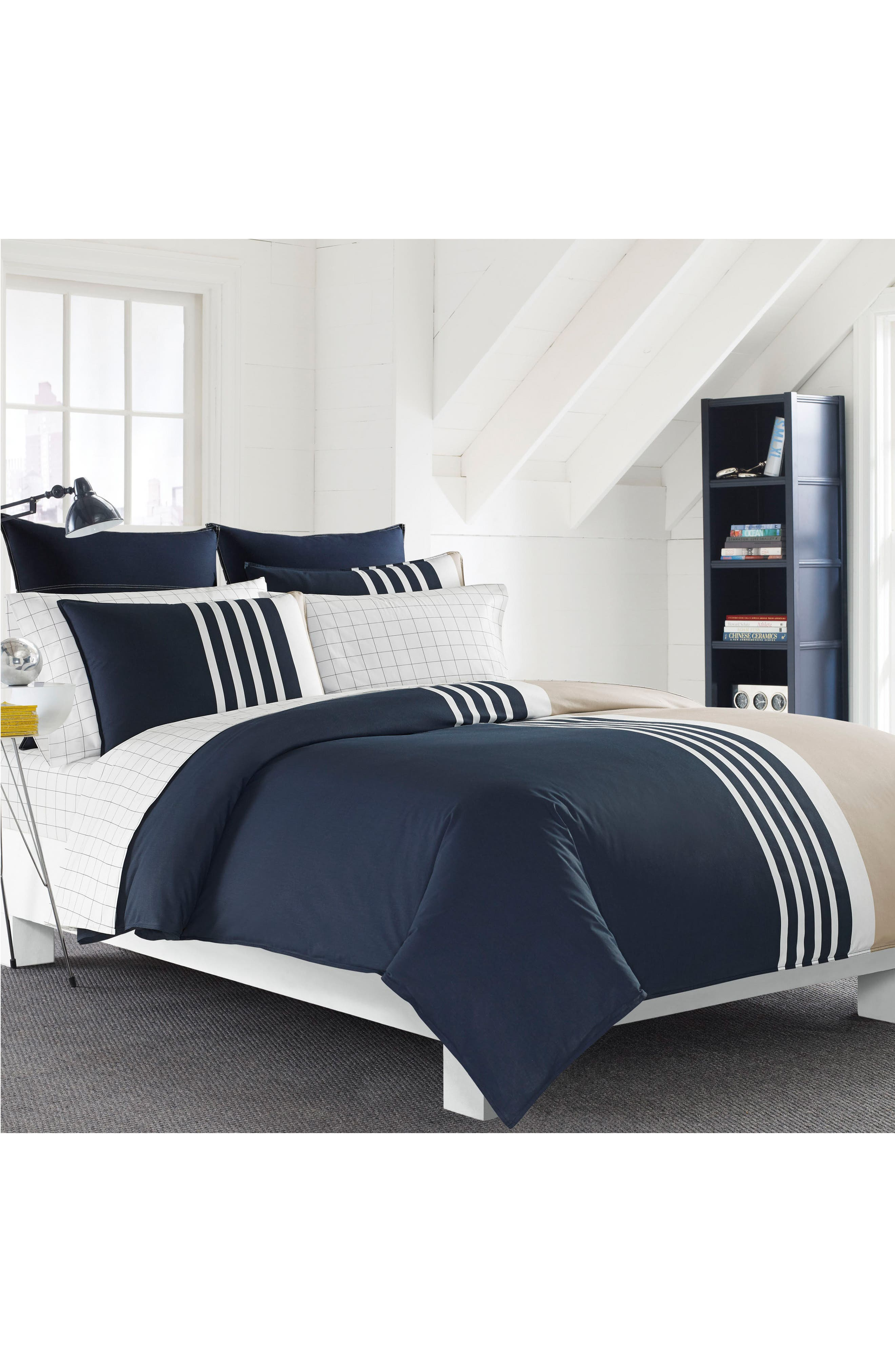 Aport Duvet & Sham Set,                             Main thumbnail 1, color,                             NAVY