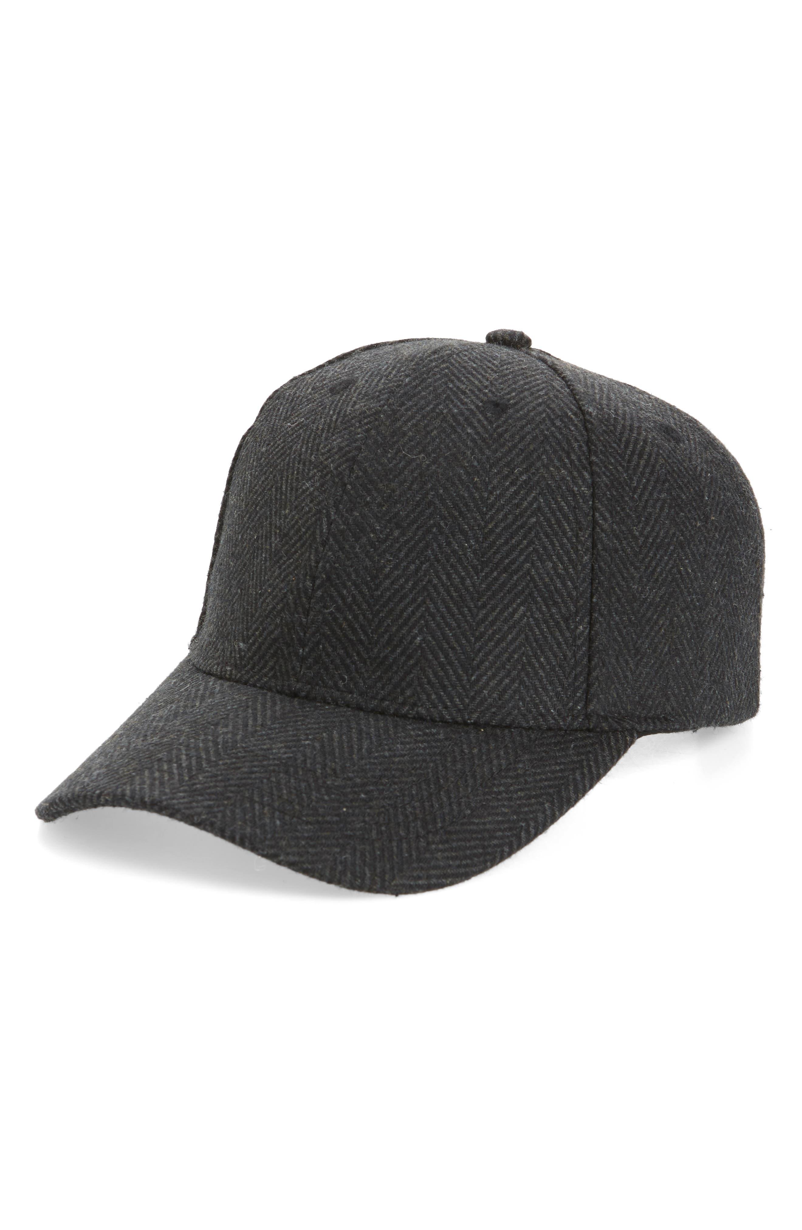 NORDSTROM MEN'S SHOP Herringbone Ball Cap, Main, color, 001