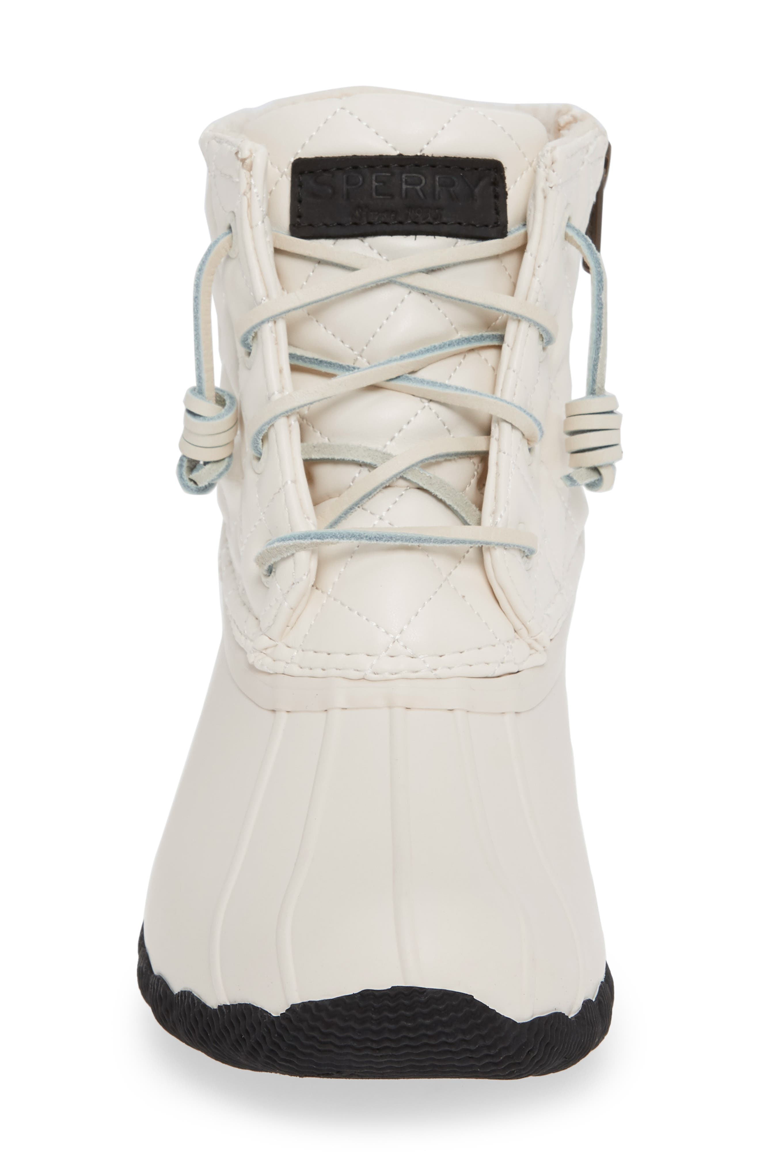 Quilted Luxe Saltwater Waterproof Bootie,                             Alternate thumbnail 4, color,                             IVORY