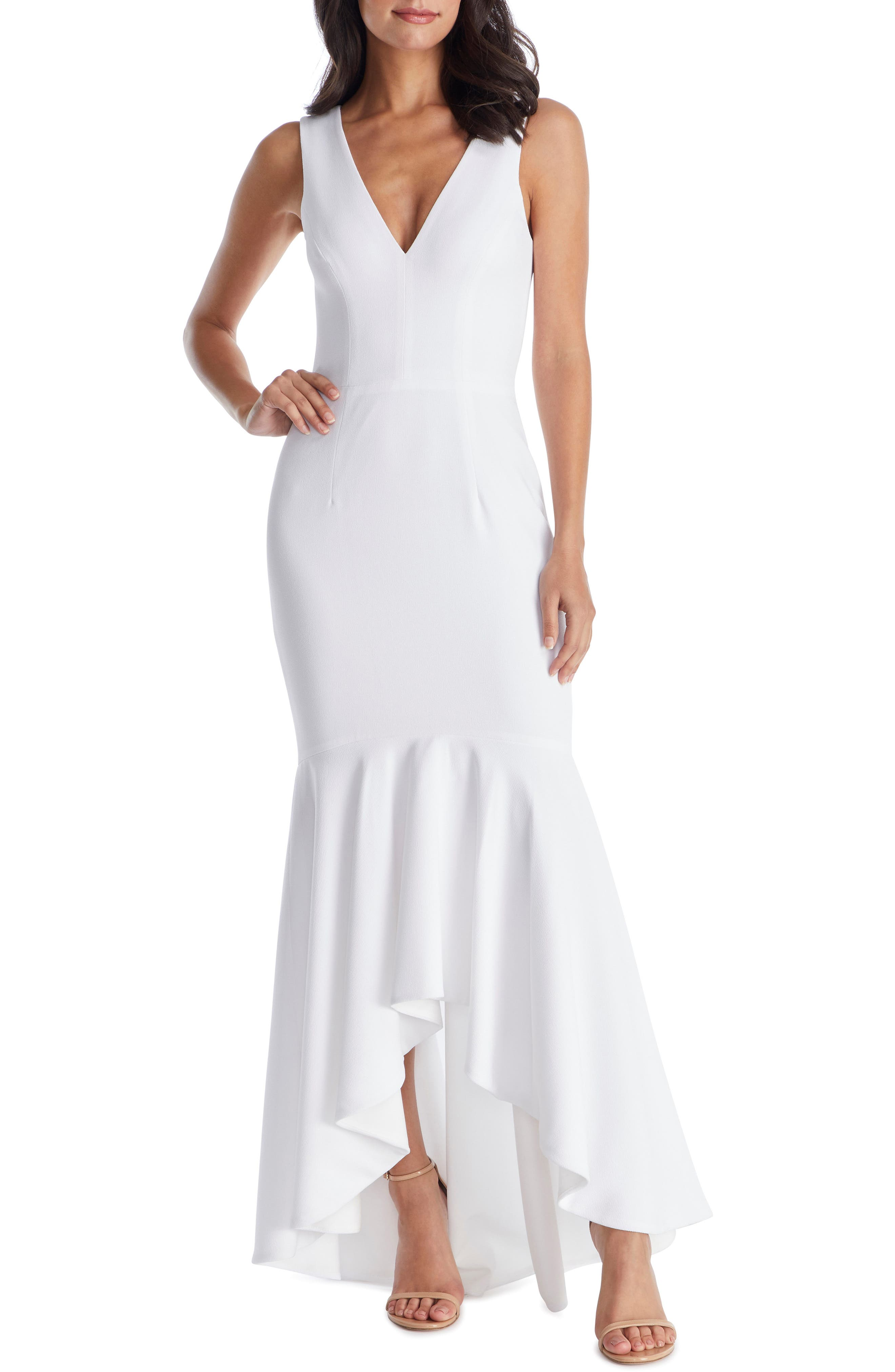 Dress The Population Demi High/low Mermaid Hem Evening Dress, Ivory
