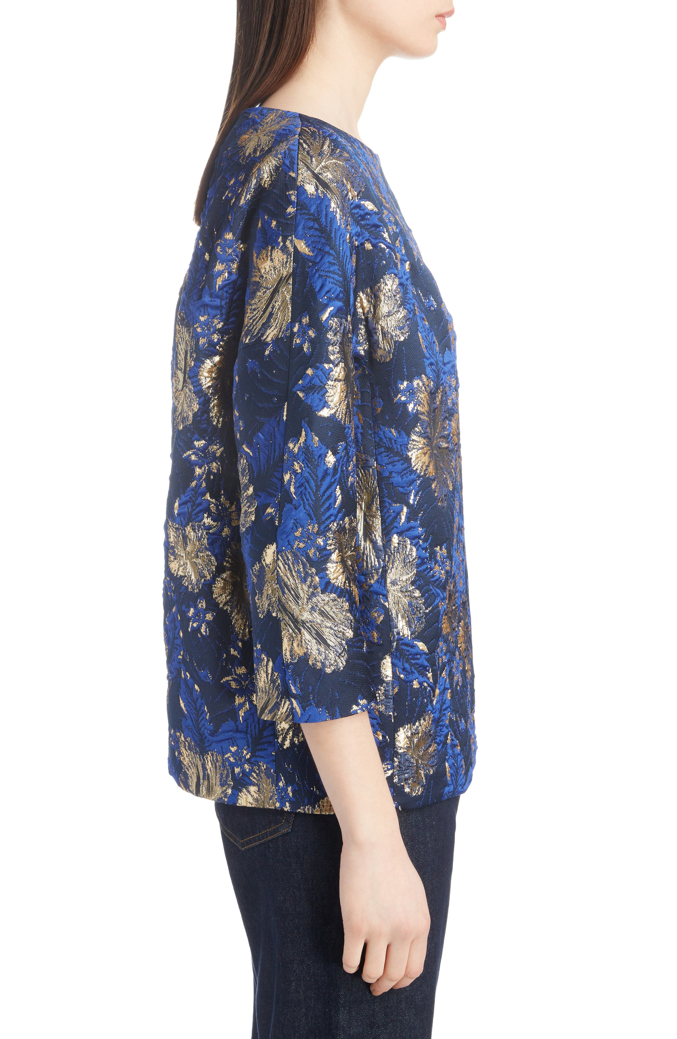 Metallic Floral Jacquard Top,                             Alternate thumbnail 3, color,                             BLUE