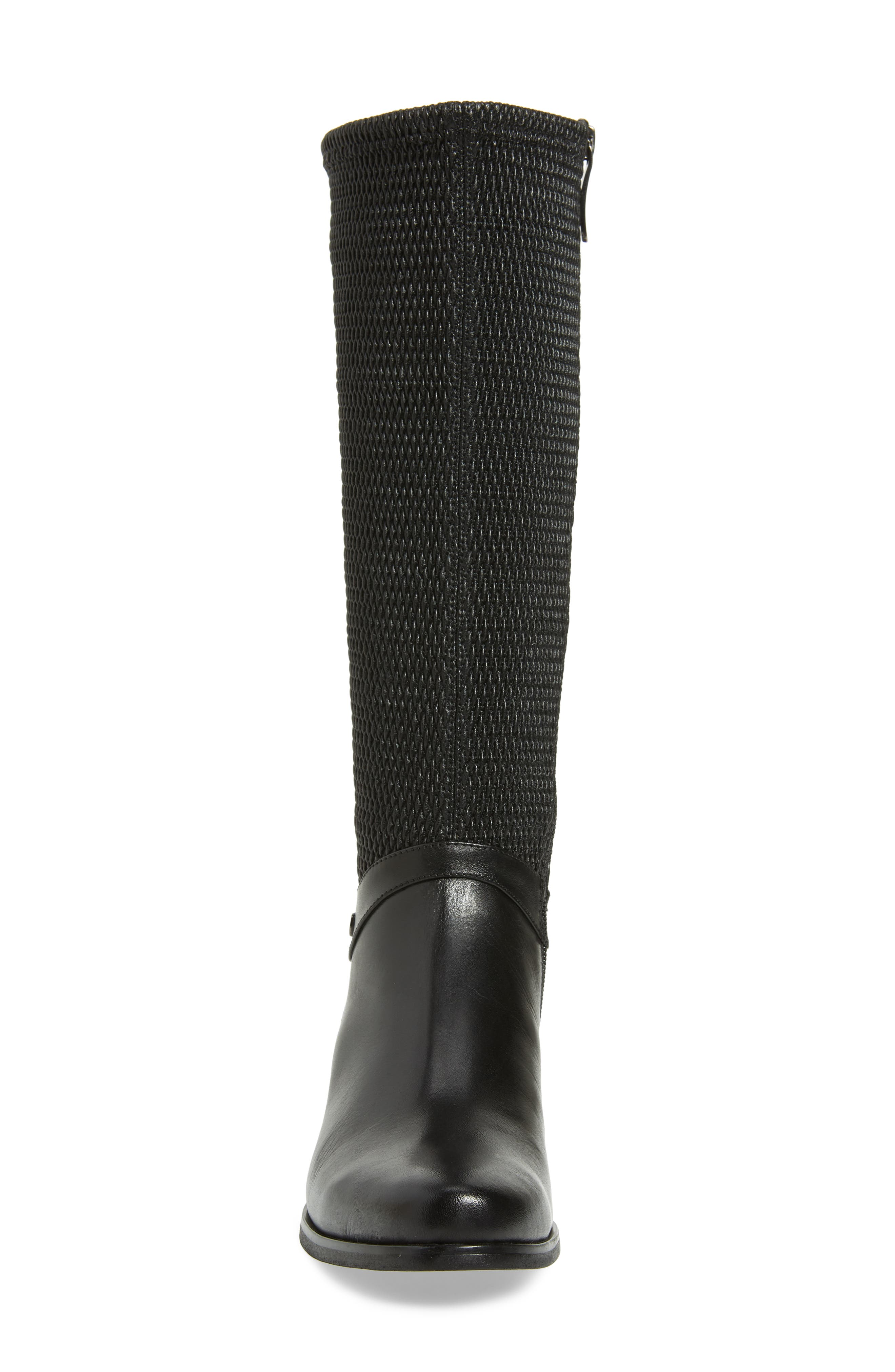 AQUADIVA,                             Kallena Waterproof Knee High Boot,                             Alternate thumbnail 4, color,                             BLACK LEATHER