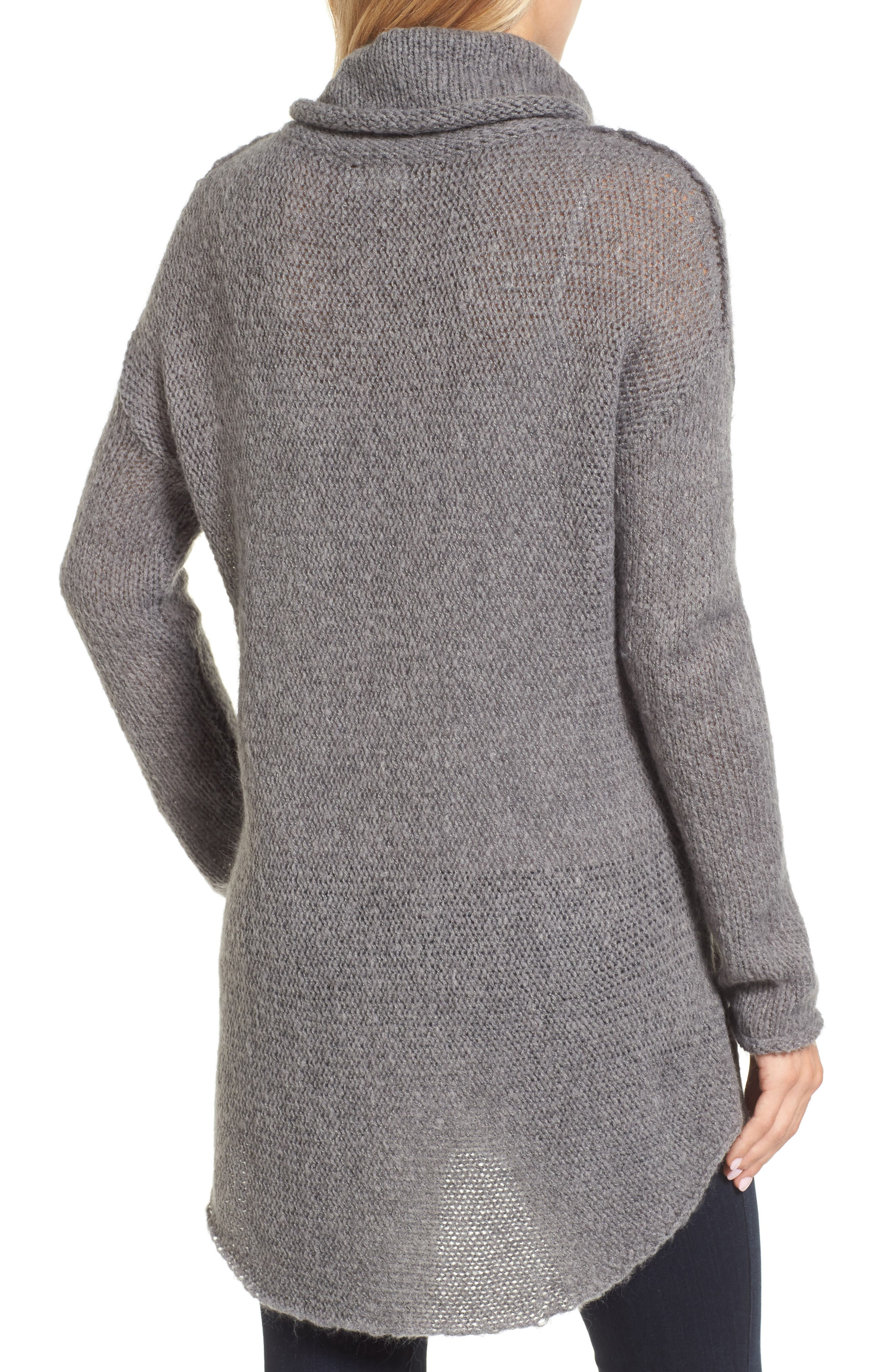 Tunic Sweater,                             Alternate thumbnail 2, color,                             GREY DARK HEATHER
