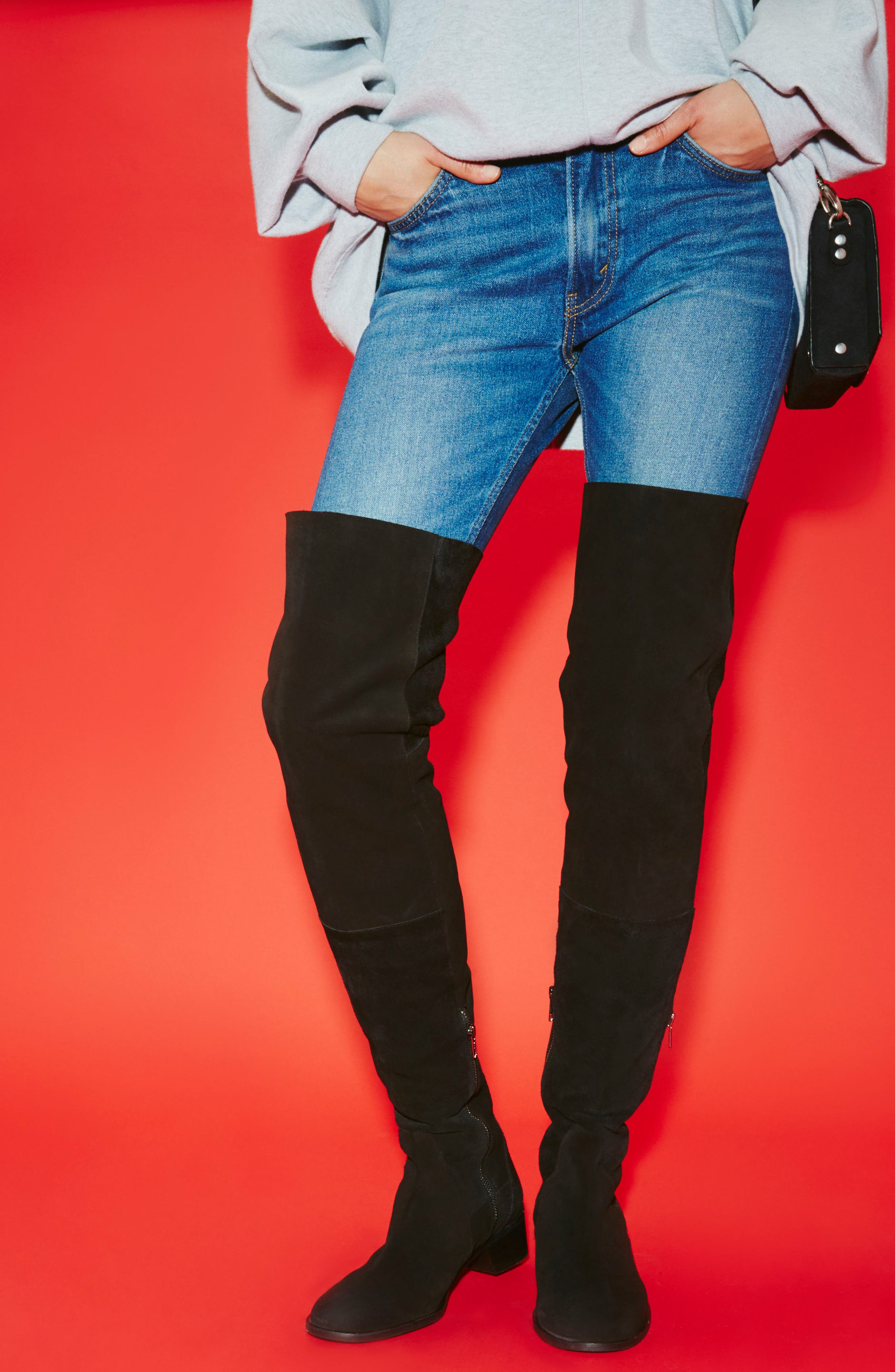 Everly Thigh High Boot,                             Alternate thumbnail 7, color,                             001