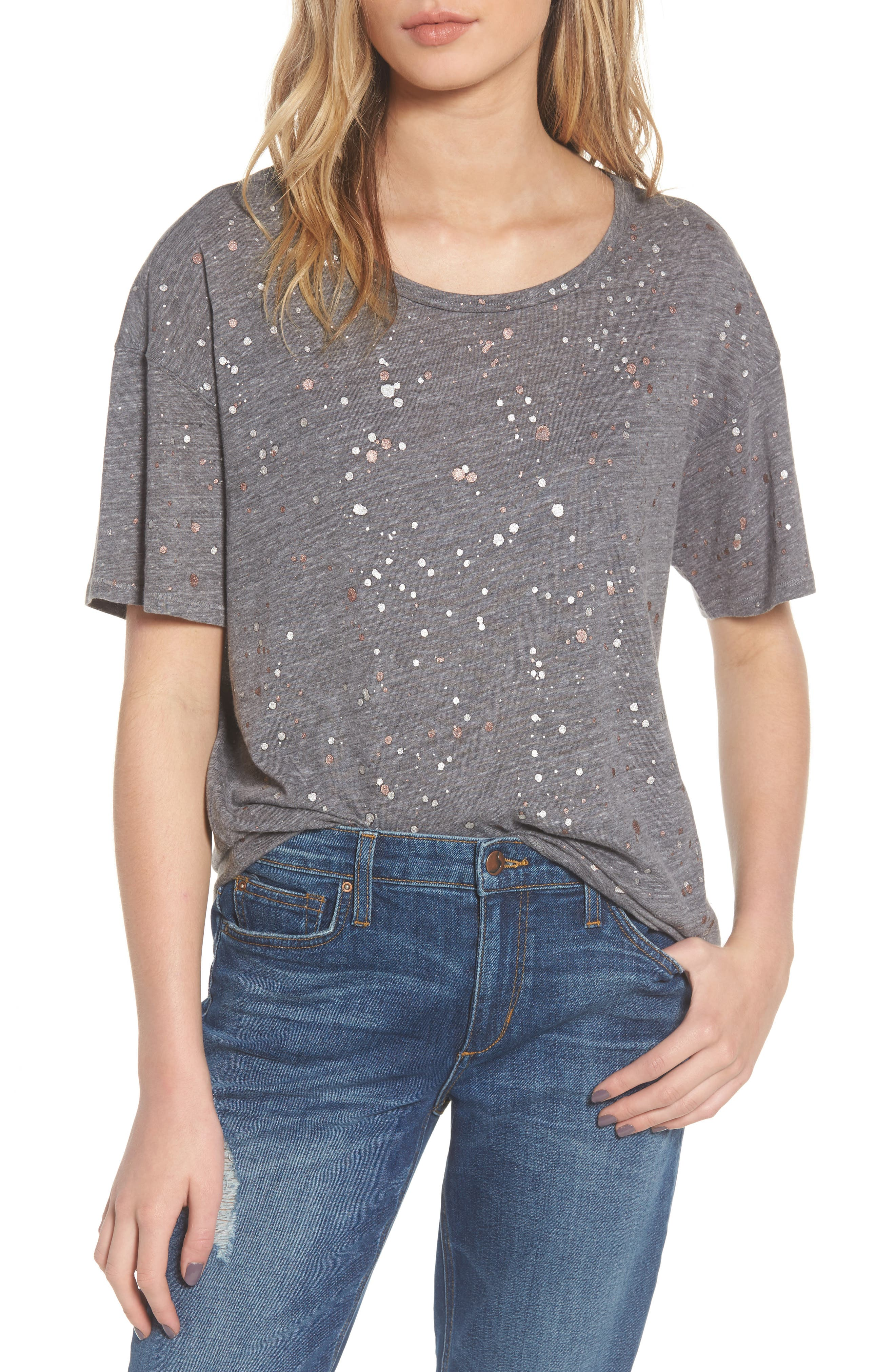 Metallic Splatter Tee,                             Main thumbnail 1, color,                             020
