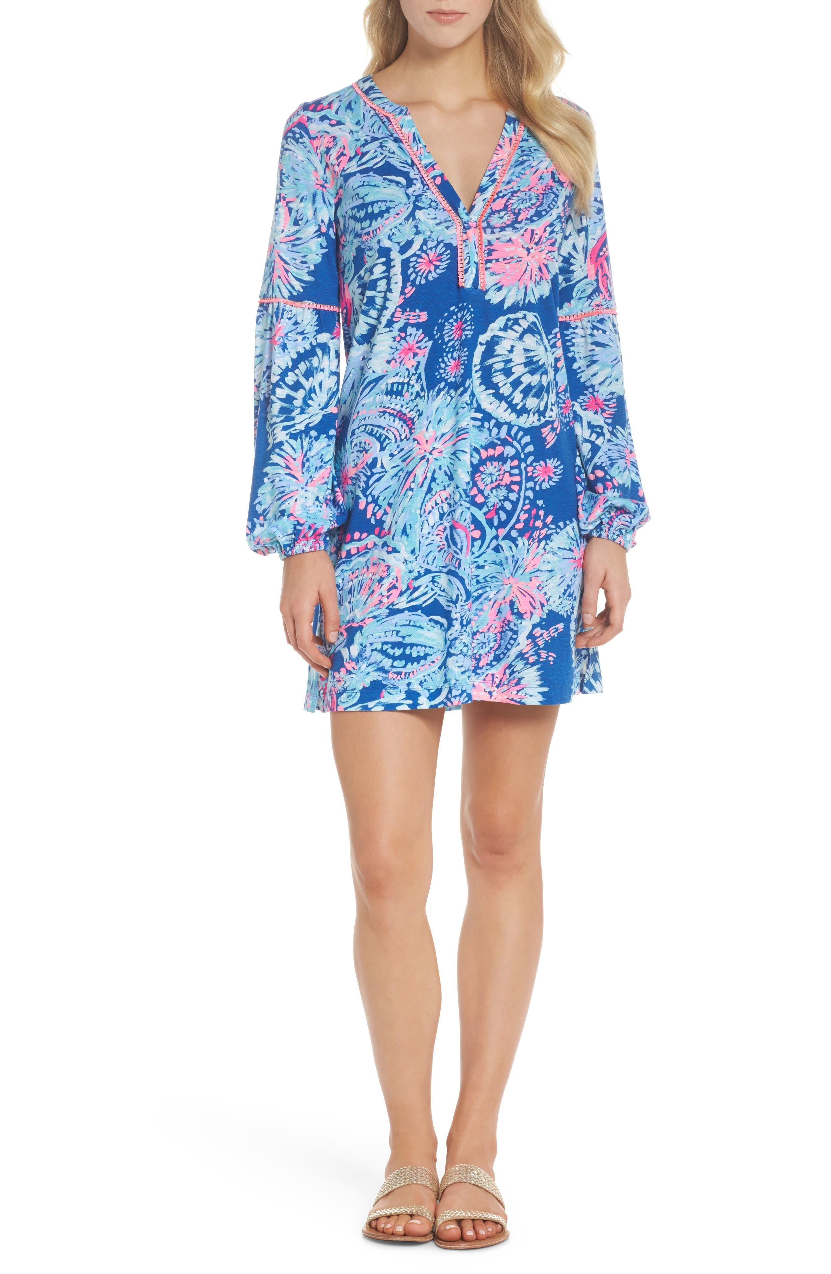 Joy Floral Print Shift Dress,                             Alternate thumbnail 5, color,                             400
