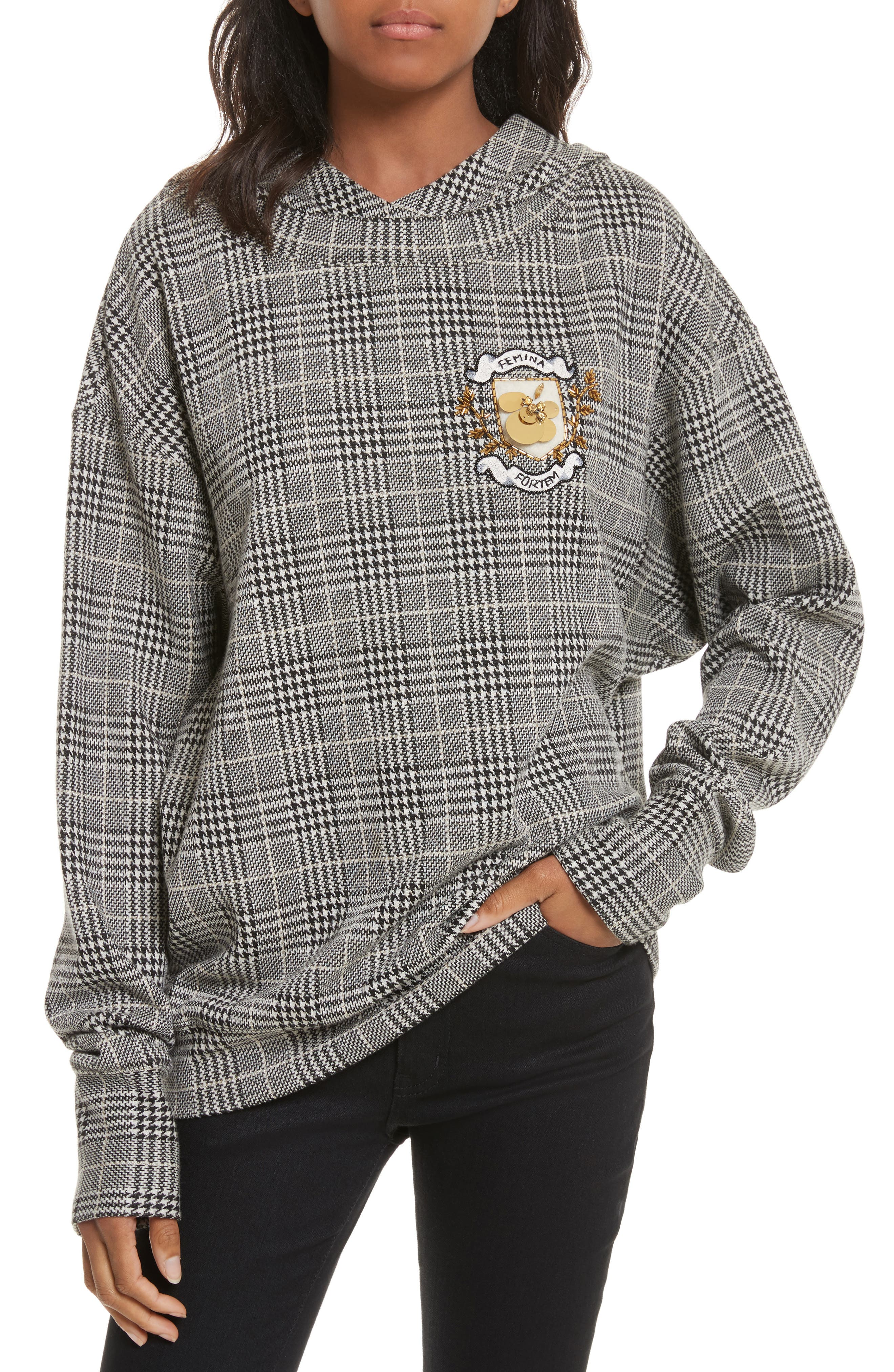 Embellished Plaid Hoodie,                             Main thumbnail 1, color,