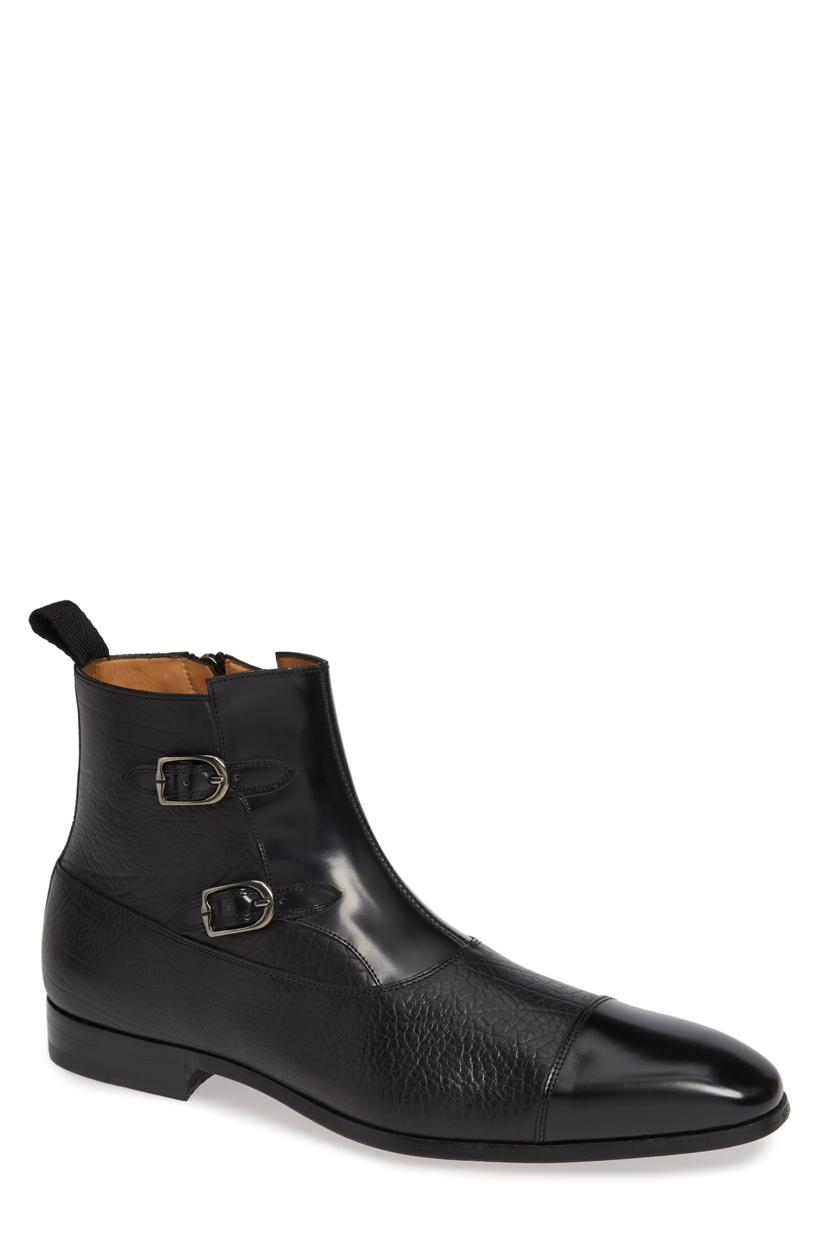 Tracy Double Buckle Cap Toe Boot,                             Main thumbnail 1, color,                             BLACK LEATHER