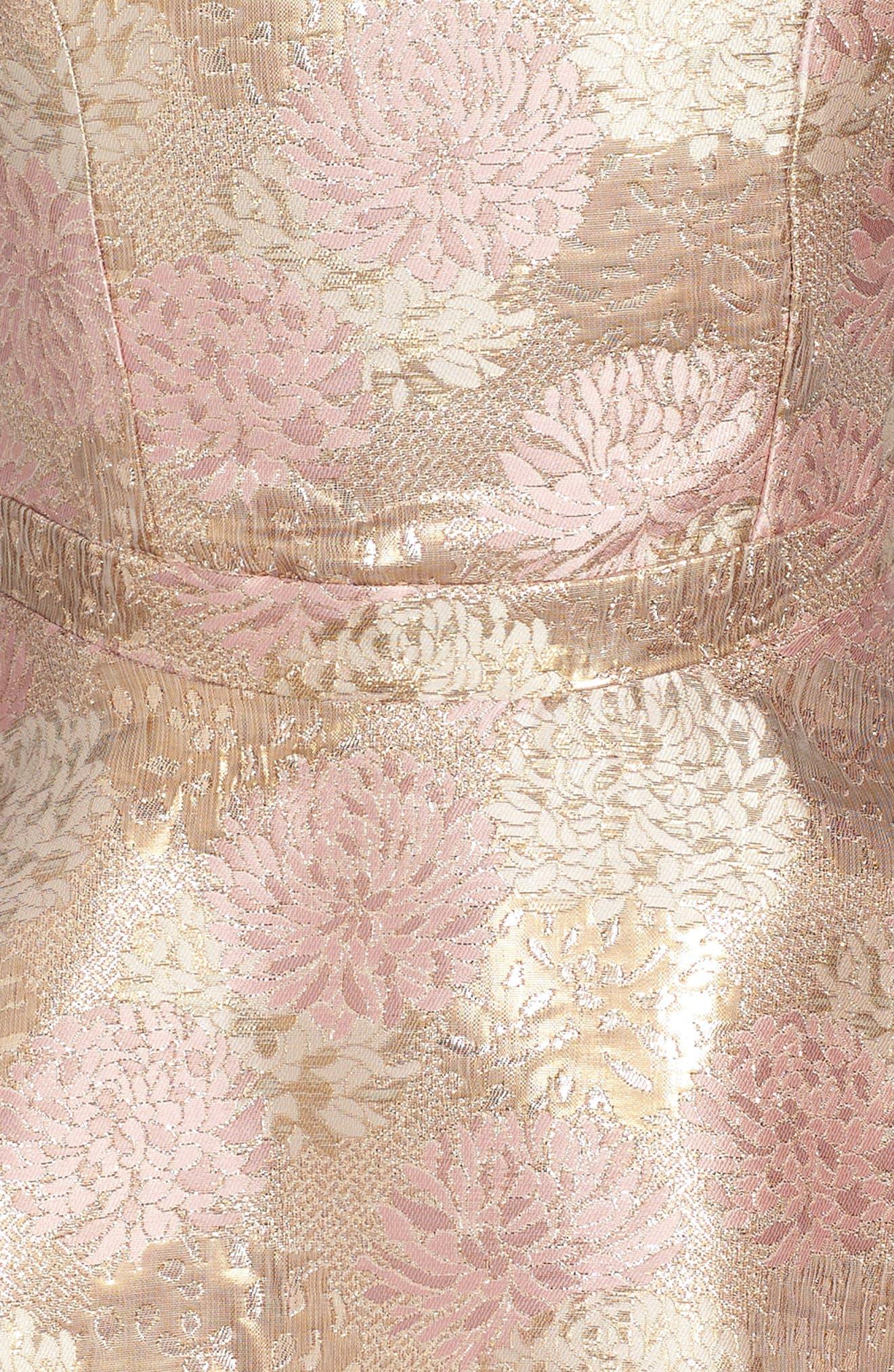 Floral Jacquard Skater Dress,                             Alternate thumbnail 3, color,                             650
