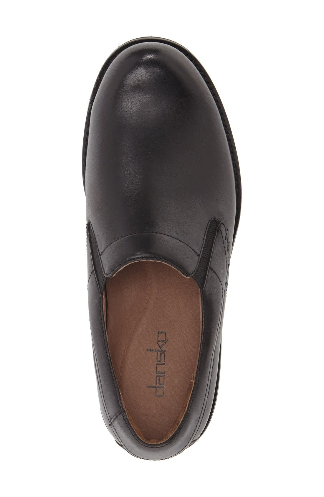 'Jackson' Leather Slip-On,                             Alternate thumbnail 4, color,                             BLACK ANTIQUED CALF LEATHER