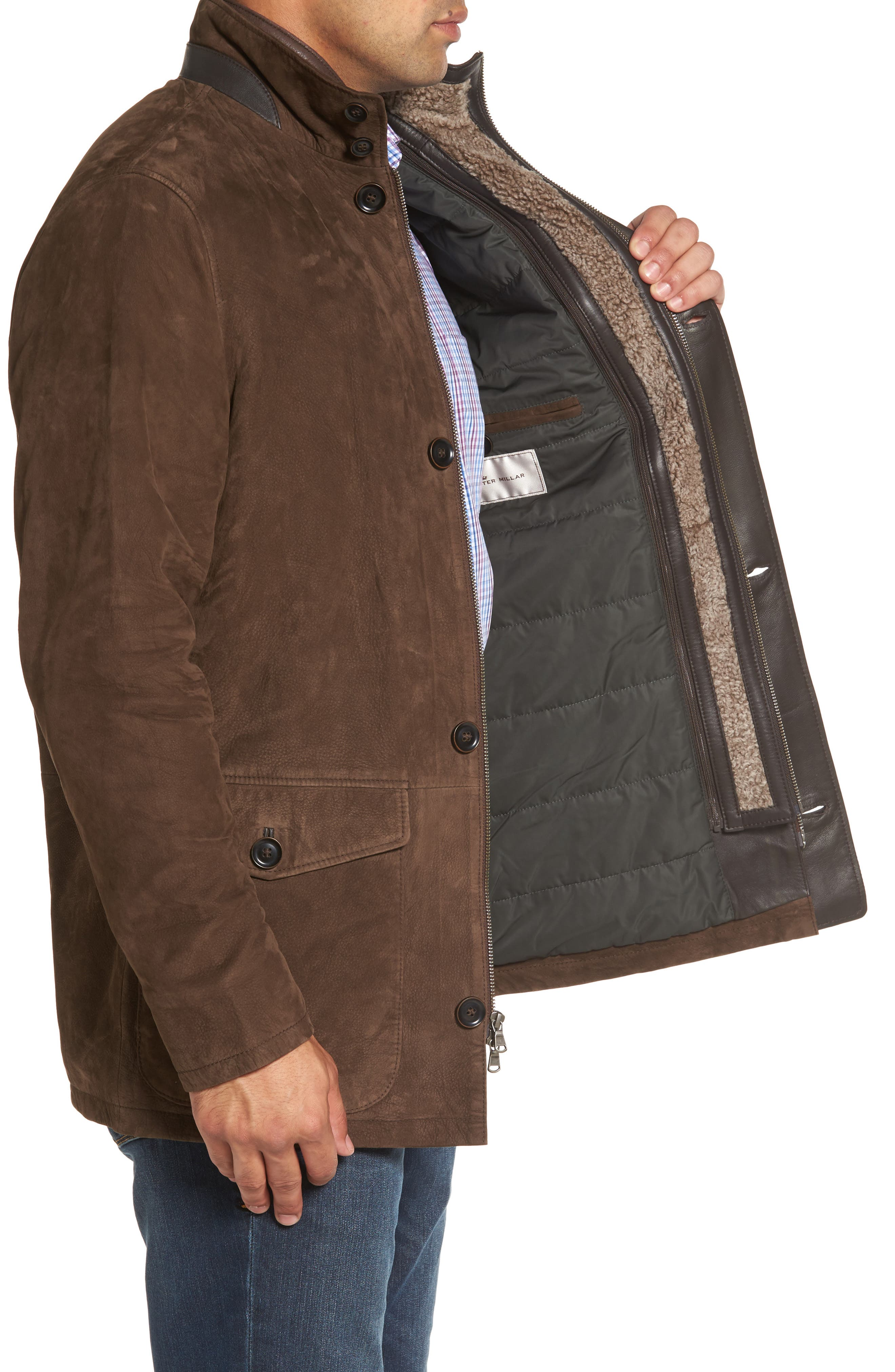 Steamboat Leather Jacket with Genuine Shearling Lined Bib,                             Alternate thumbnail 3, color,                             227