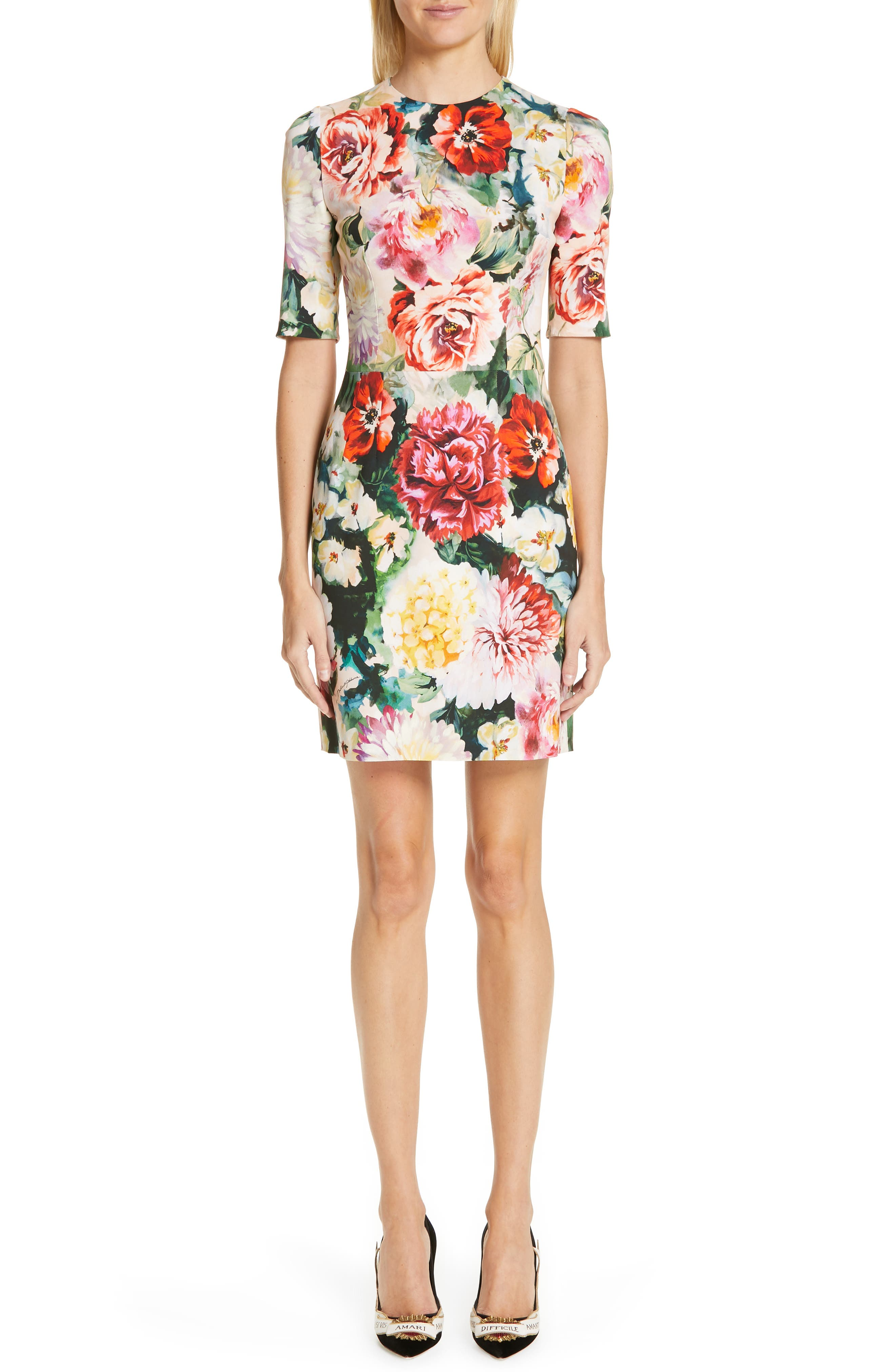 Floral Print Cady Dress,                             Main thumbnail 1, color,                             PINK FLORAL