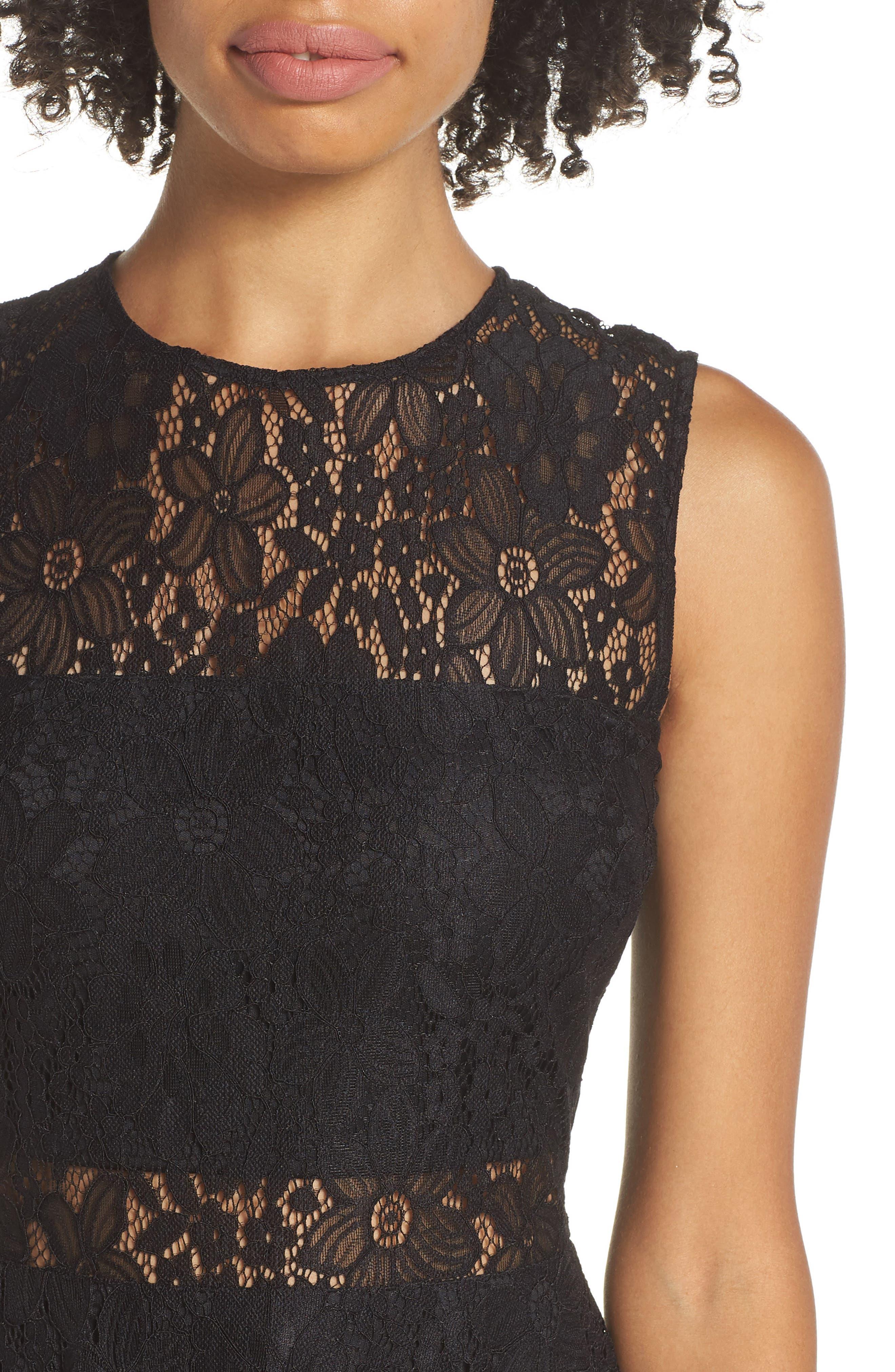 Lace Skater Dress,                             Alternate thumbnail 4, color,                             BLACK