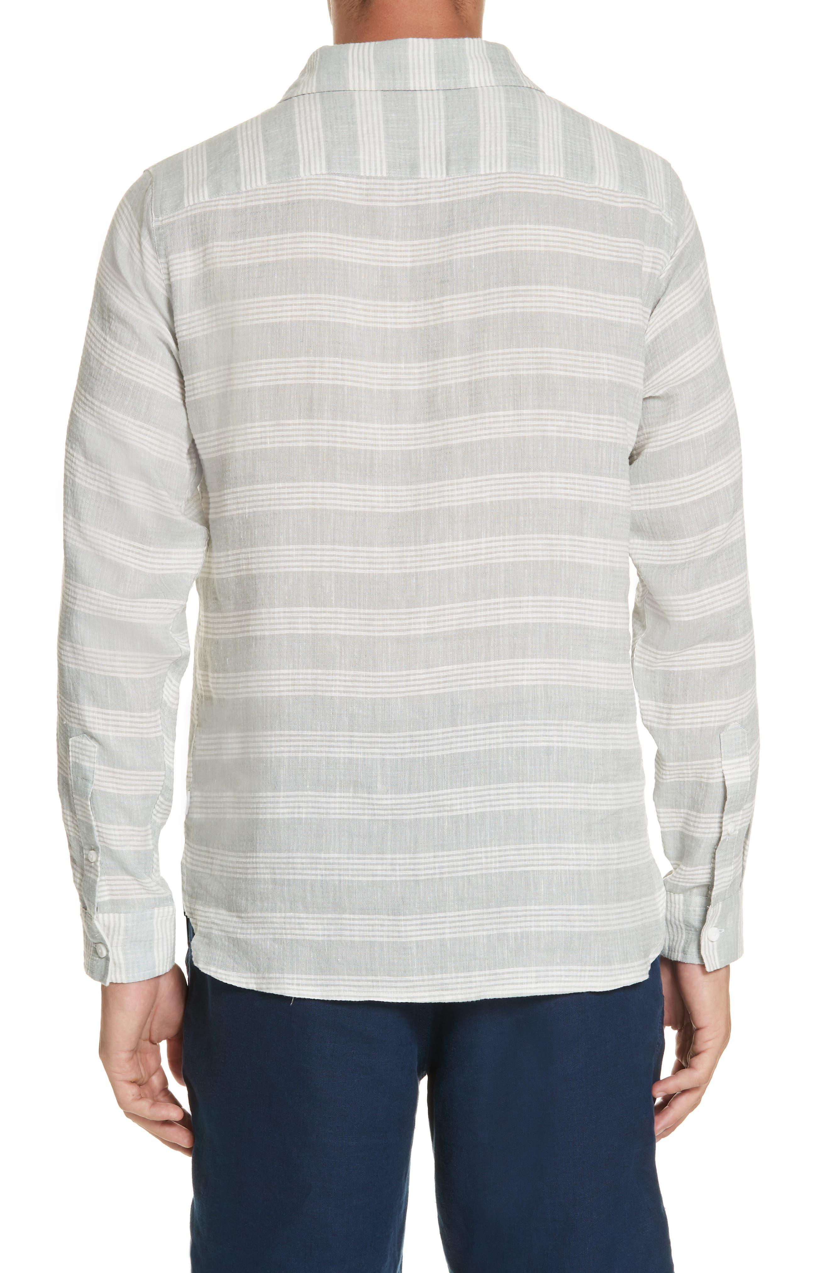Chambray Stripe Pullover Woven Shirt,                             Alternate thumbnail 3, color,                             GREY