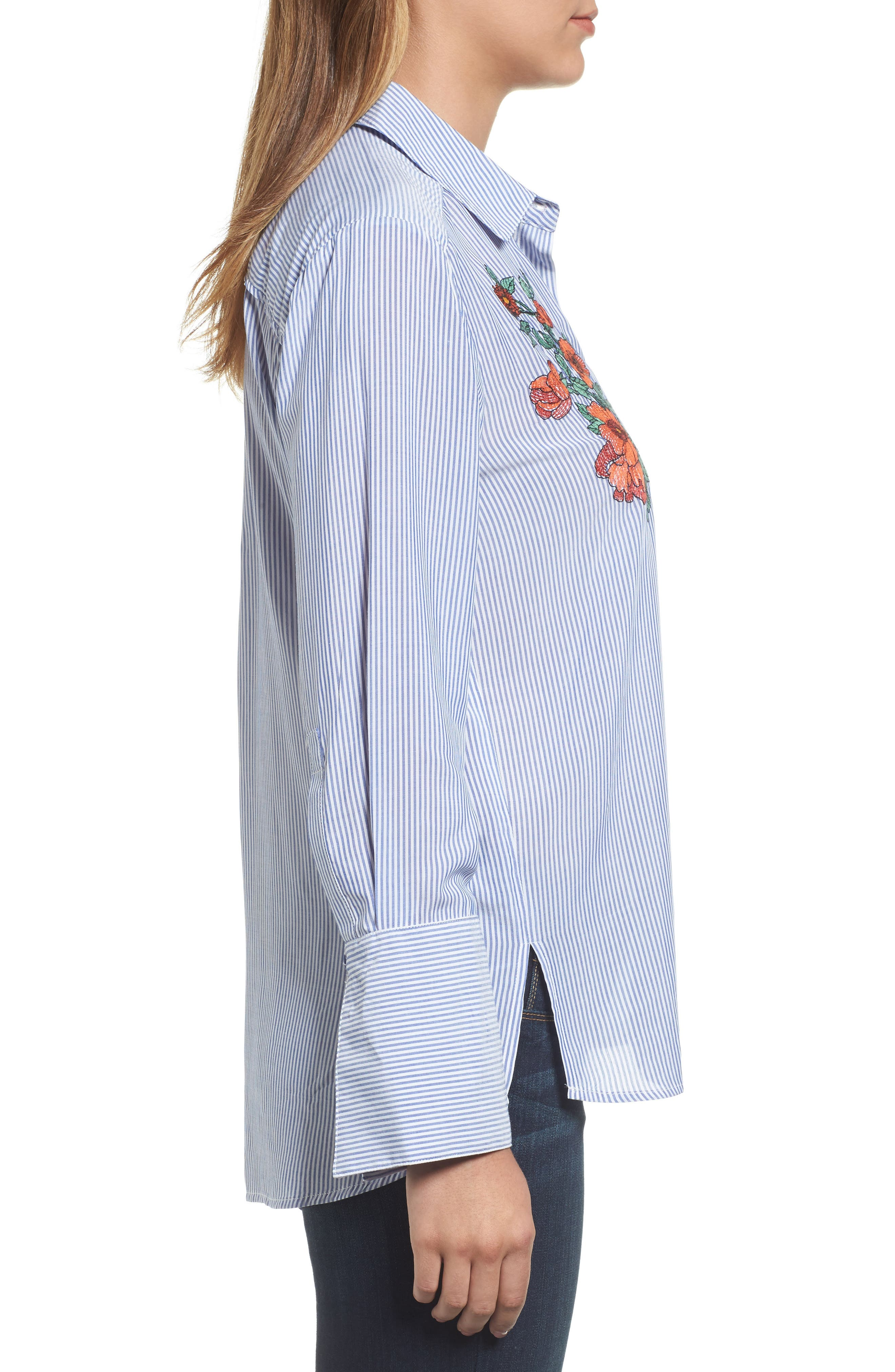 Wide Cuff Embroidered Button Down,                             Alternate thumbnail 3, color,                             450